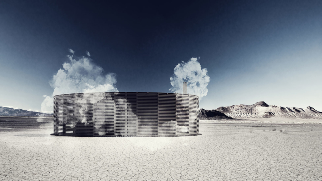 Rendering of sauna in desert.