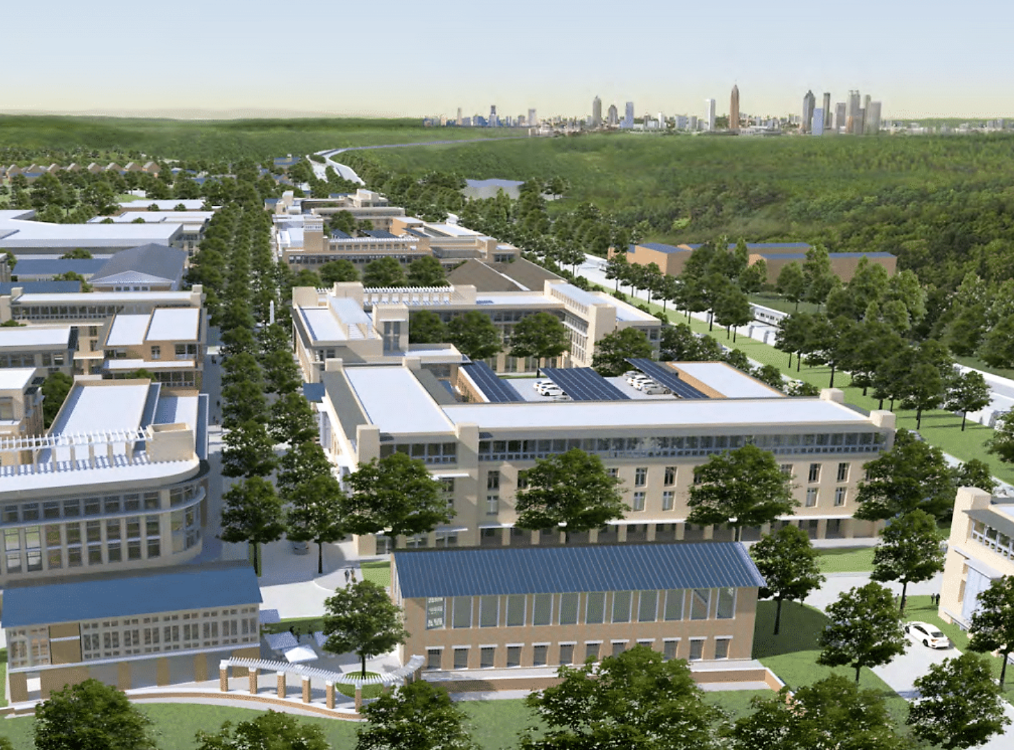 A rendering shows a vast community of new construction and adaptive reuse development in front of a sea of trees. In the Background is the Atlanta skyline.