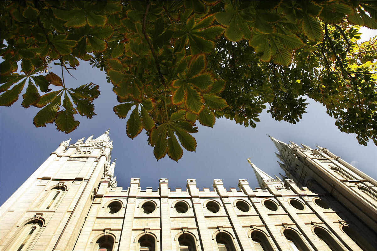 Foliage and the Salt Lake Temple on Temple Square in Salt Lake City.