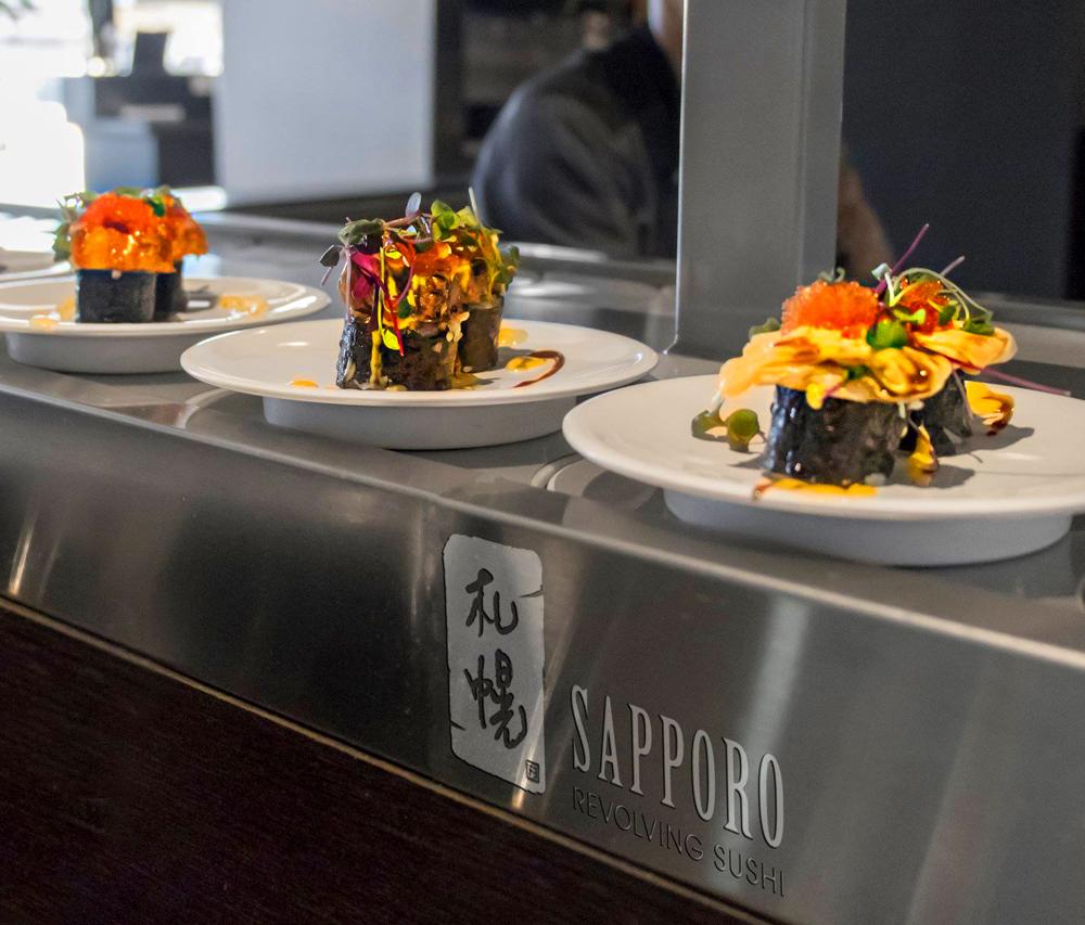 Sushi on plates