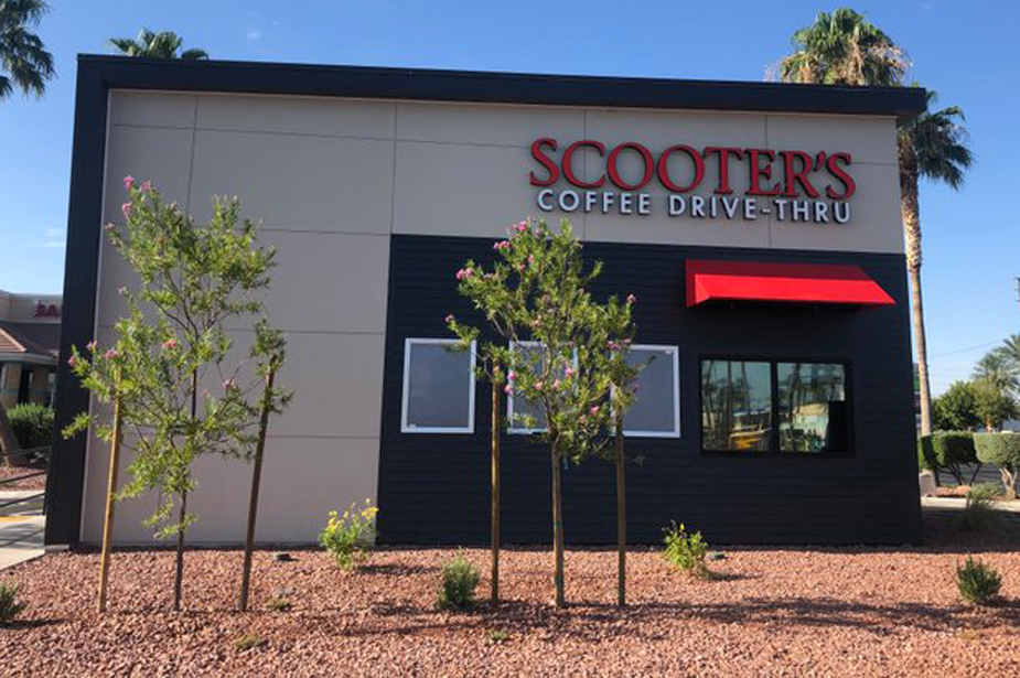 Exterior of the new Scooter's Coffee drive-thru kiosk.