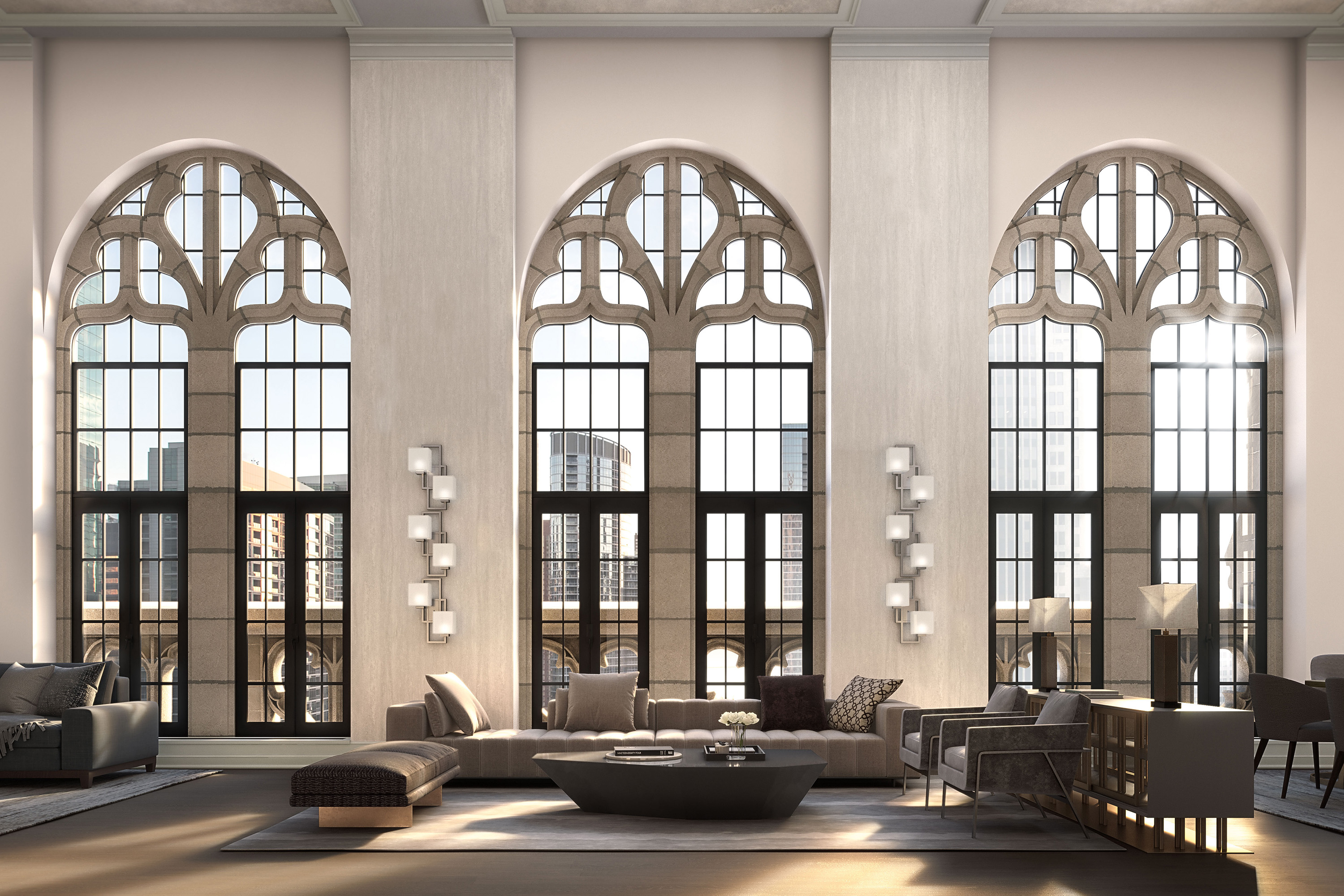 A rendering shows three enormous arched, gothic windows with paned glass and candle scones between each window. Luxurious dark couches fill the living room seating area.