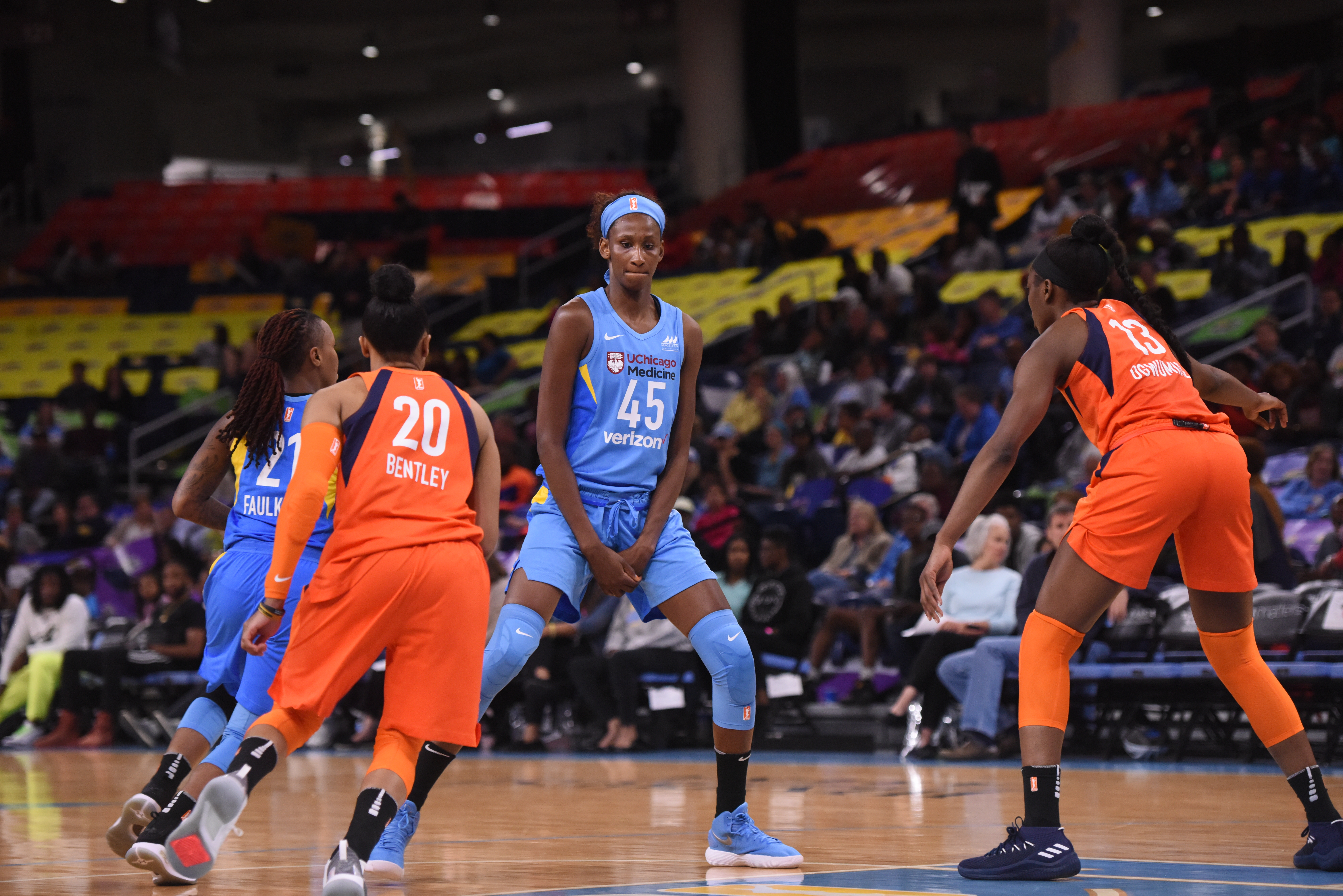 Astou Ndour finished with season-highs of 11 points and nine rebounds in the Sky's 91-81 win against the Sparks on Friday.