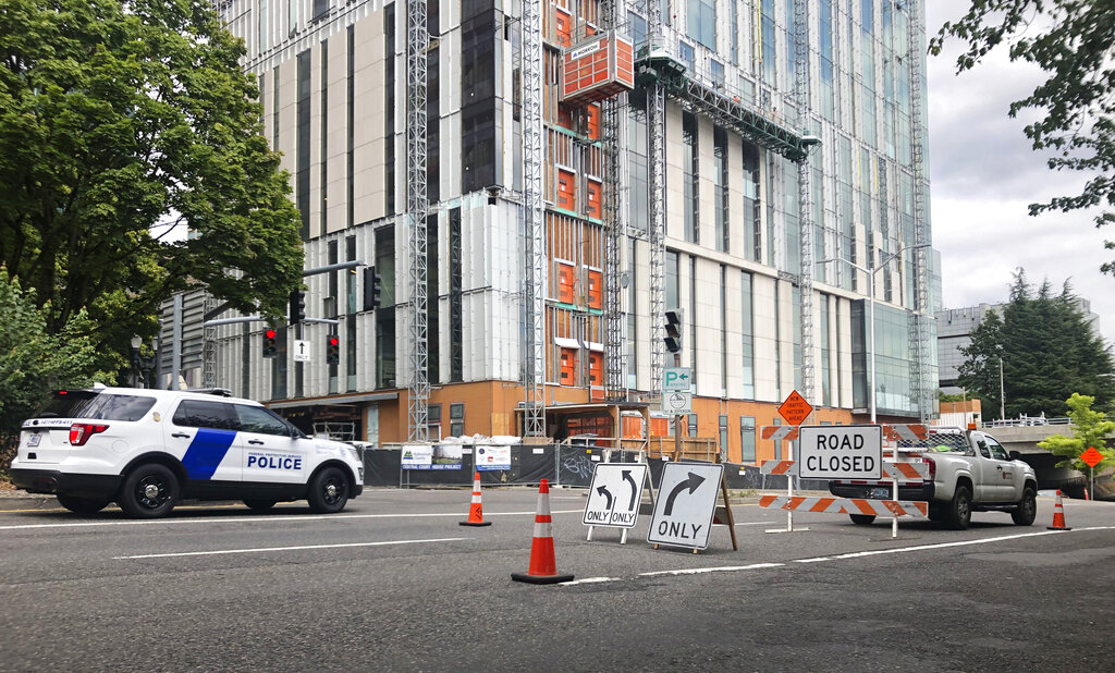 A road closure sign is seen in downtown Portland