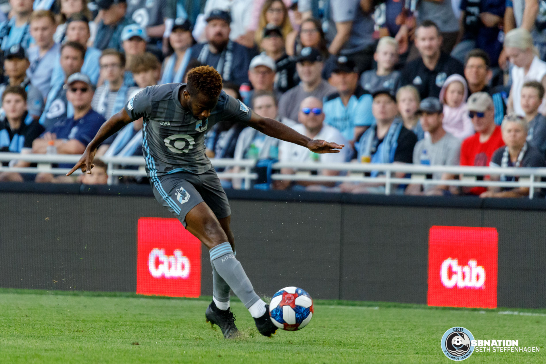 July 10, 2019 - Saint Paul, Minnesota, United States - Minnesota United midfielder Kevin Molino (7) passes the ball  during the quarter-final match of the US Open Cup between Minnesota United and New Mexico United at Allianz Field.
