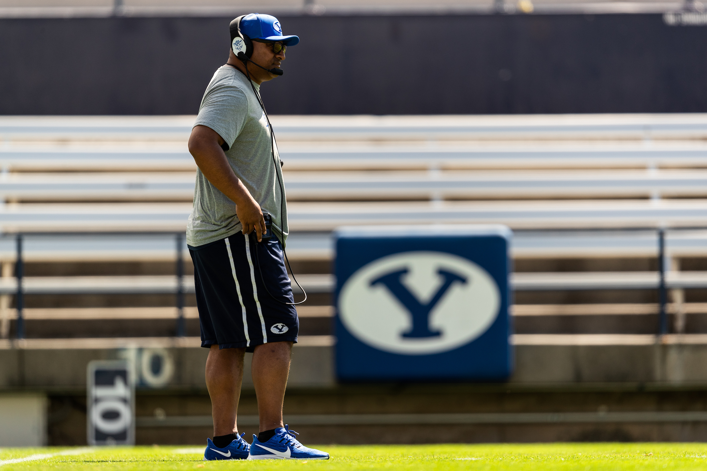 BYU head coach Kalani Sitake looks on during the Cougars' scrimmage at LaVell Edwards Stadium on Saturday, Aug. 10, 2019.