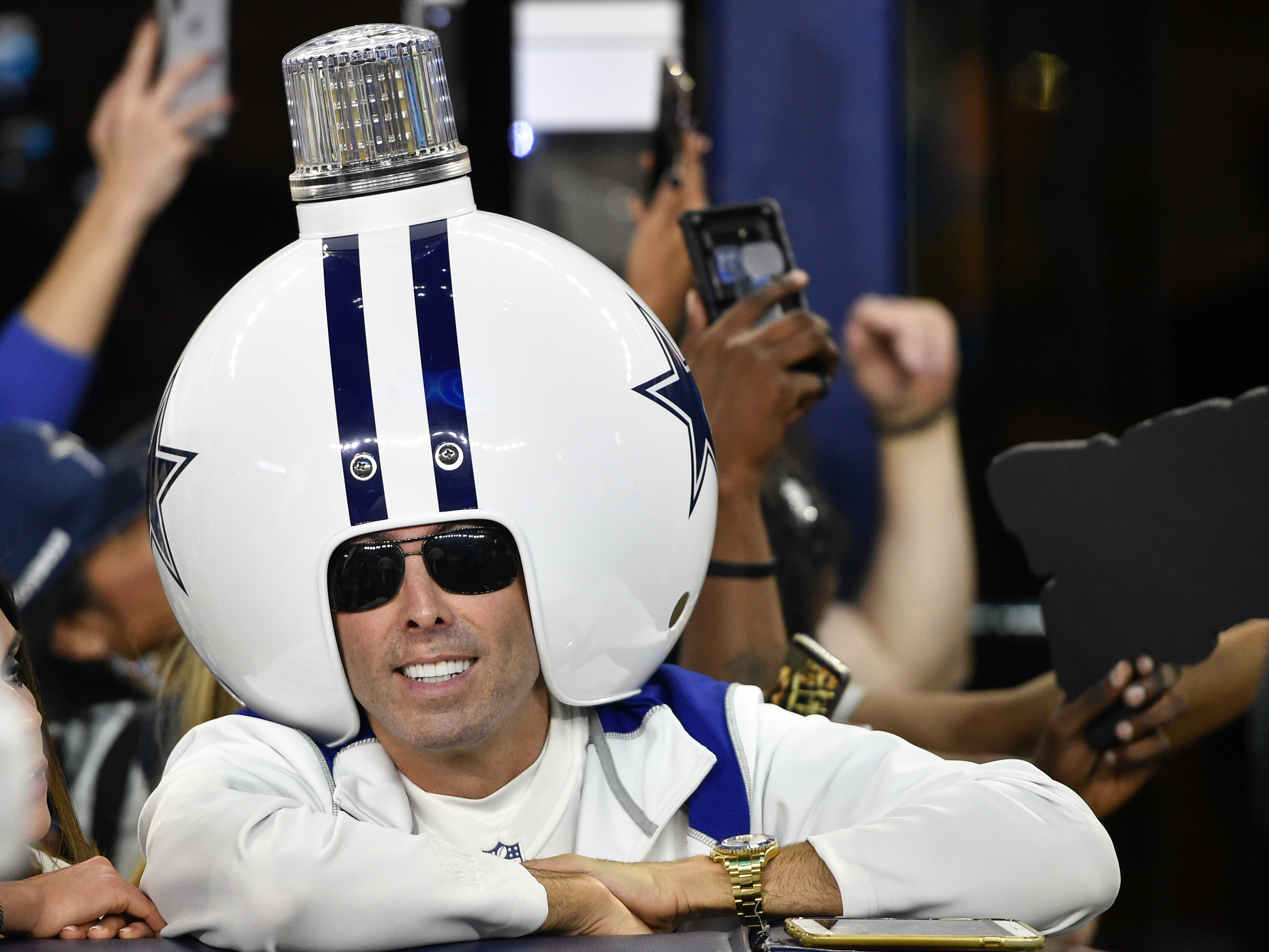 A Dallas Cowboys fan prior to the NFC Wild Card playoff football game against the Seattle Seahawks at AT&T Stadium, Jan. 5, 2019.