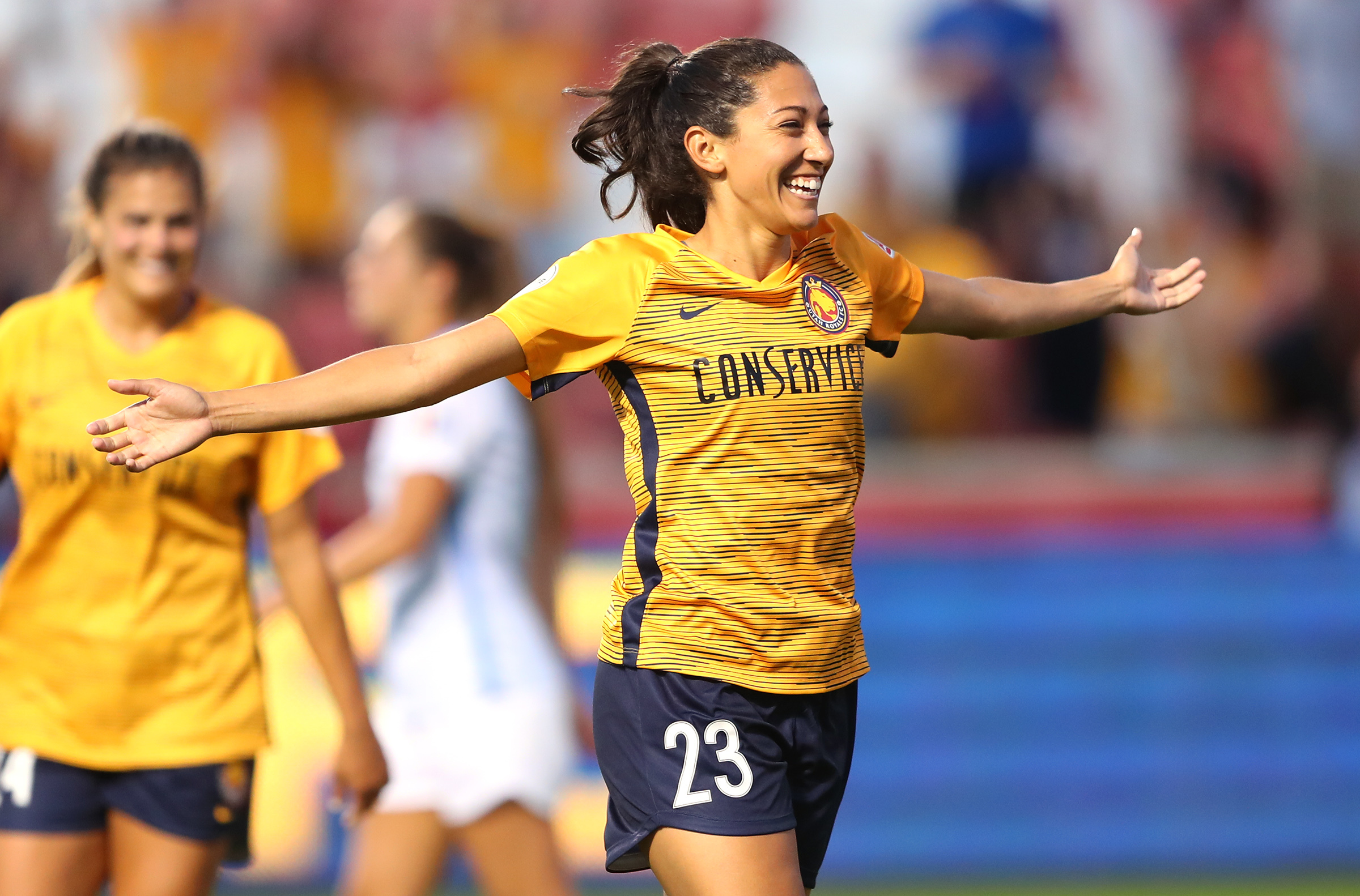Utah Royals FC forward Christen Press (23) celebrates after scoring a goal as the Salt Lake Royals and Sky Blue FC play at Rio Tinto Stadium in Sandy on Wednesday, Aug. 7, 2019.
