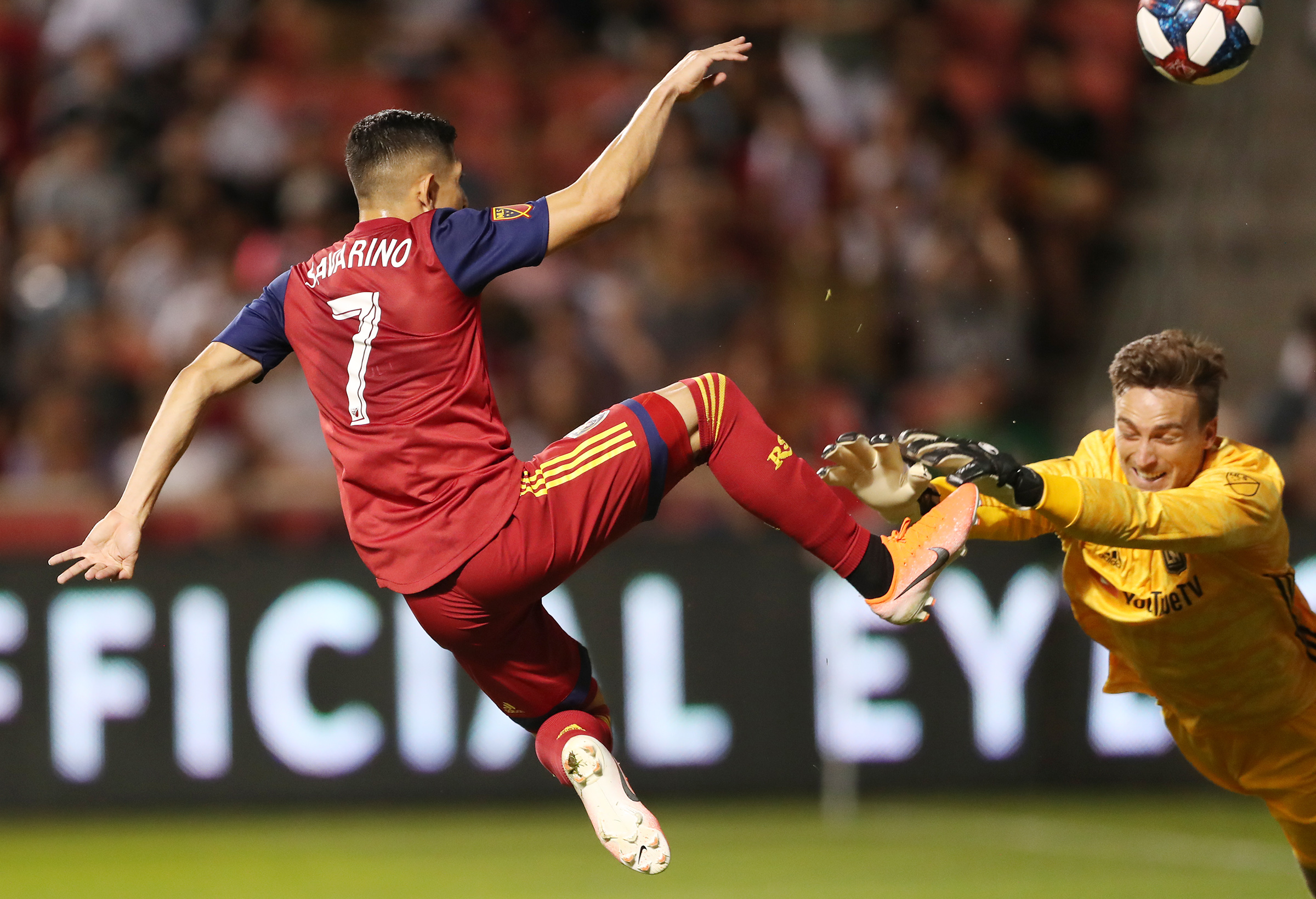 Real Salt Lake forward Jefferson Savarino (7) has his kick blocked by Los Angeles FC goalkeeper Tyler Miller (1) as Real Salt Lake and Los Angeles FC play at Rio Tinto Stadium in Sandy on Saturday, Aug. 17, 2019.