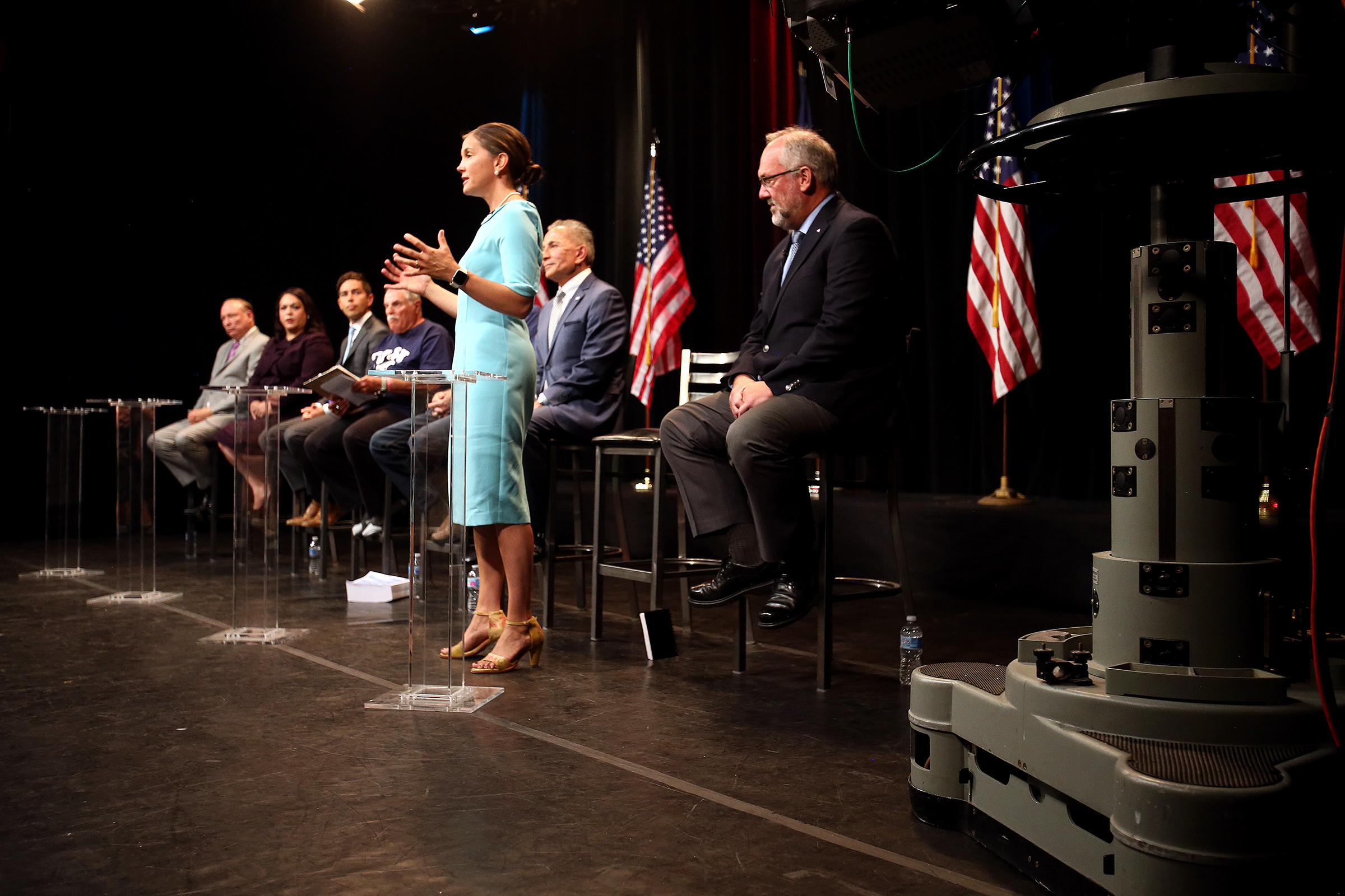 Erin Mendenhall answers a question during a debate with other Salt Lake City mayoral candidates in Salt Lake City on Monday, July 15, 2019. The debate was broadcast live from KSL-TV studios.