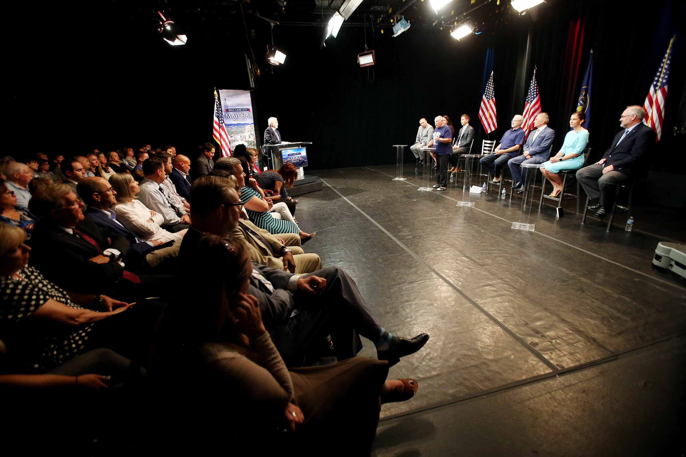 Audience members watch as Salt Lake City mayoral candidates debate from the KSL-TV studios in Salt Lake City on Monday, July 15, 2019.