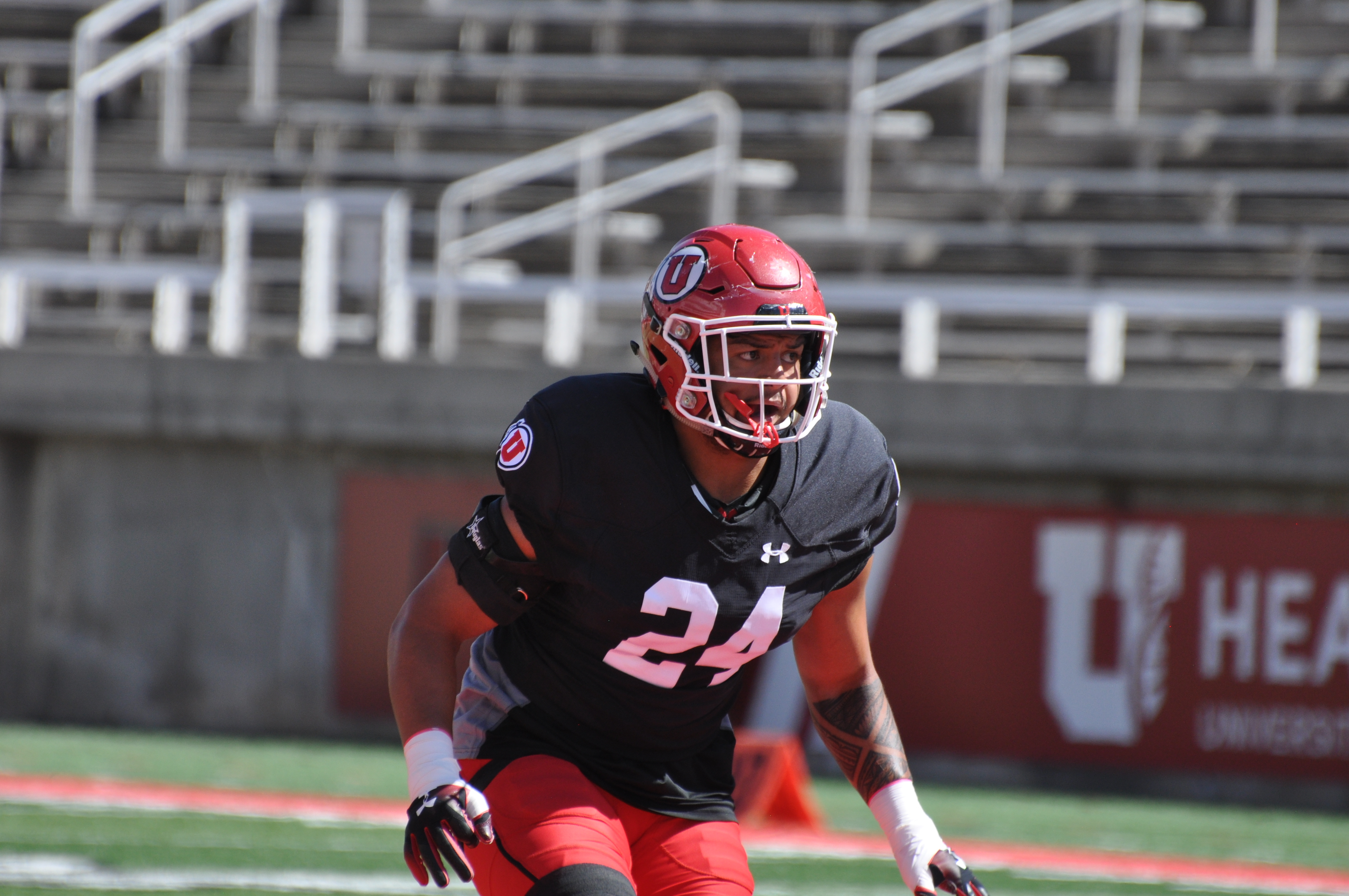 Utah linebacker Sione Lund goes through practice at Rice-Eccles Stadium on Wednesday, Aug. 14, 2019.