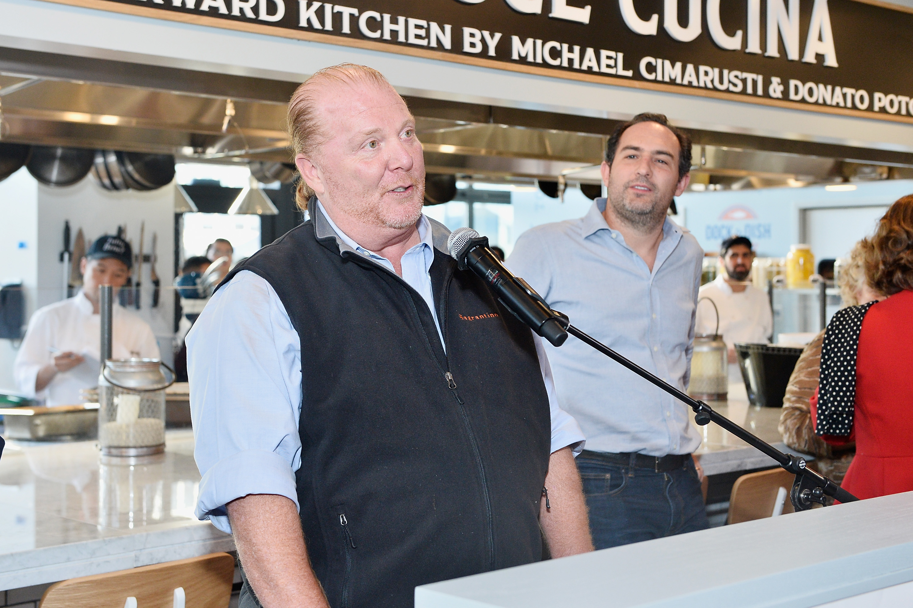 Former celebrity chef Mario Batali speaks at the opening of Eataly in Los Angeles