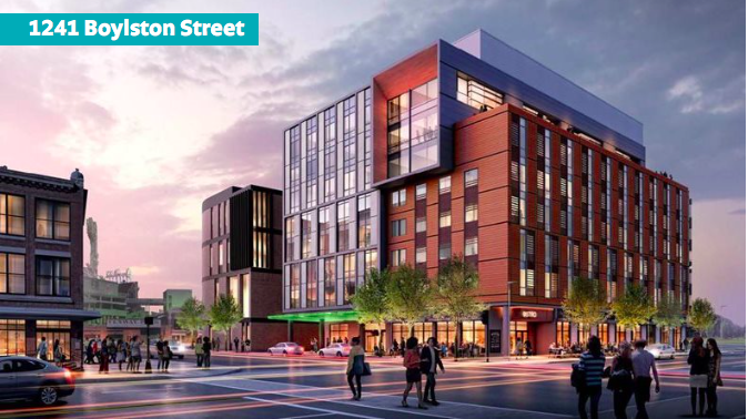 Rendering of an eight-story hotel planned for Fenway.