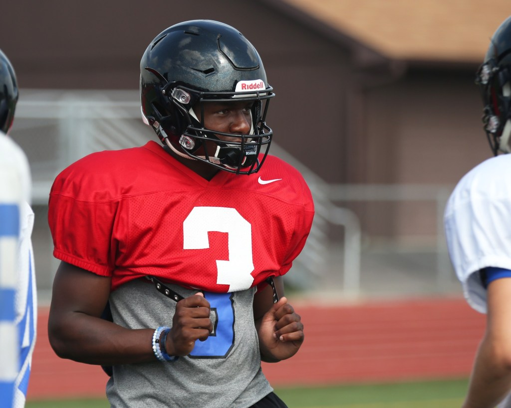 Lincoln-Way East's AJ Henning during practice.
