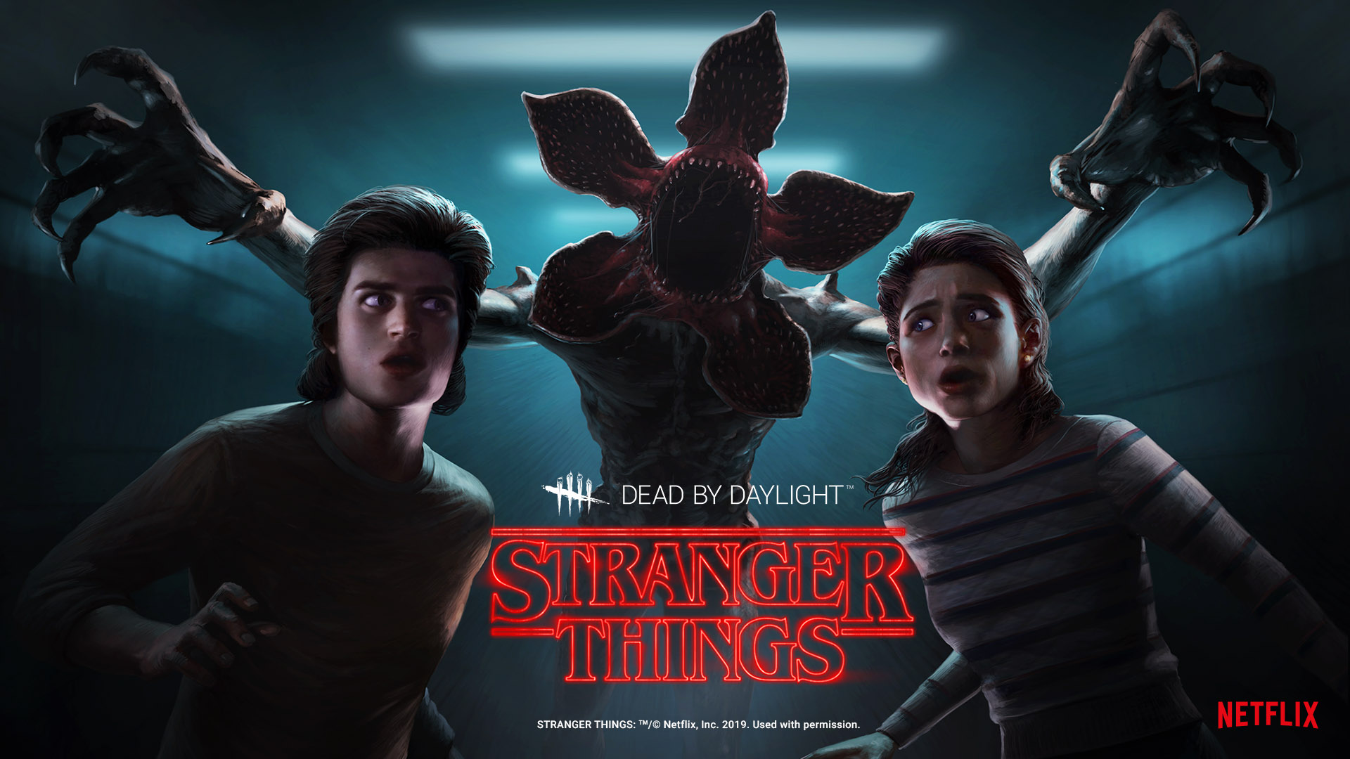 The Dead by Daylight/Stranger Things chapter key art. Nancy Wheeler and Steve Harrington look afraid. Behind them is the Demogorgon, with its arms extended and mouth wide open.