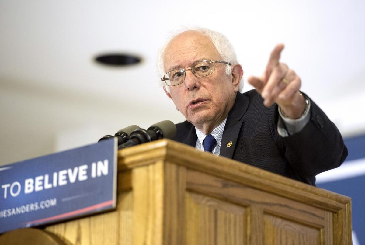 Democratic presidential candidate Sen. Bernie Sanders speaks, Monday, April 4, 2016, at the United Automobile Workers building in Janesville, Wis.