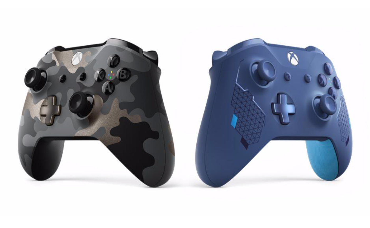 Product shot of the two new Xbox One controller styles, Night Ops Camo and Sport Blue