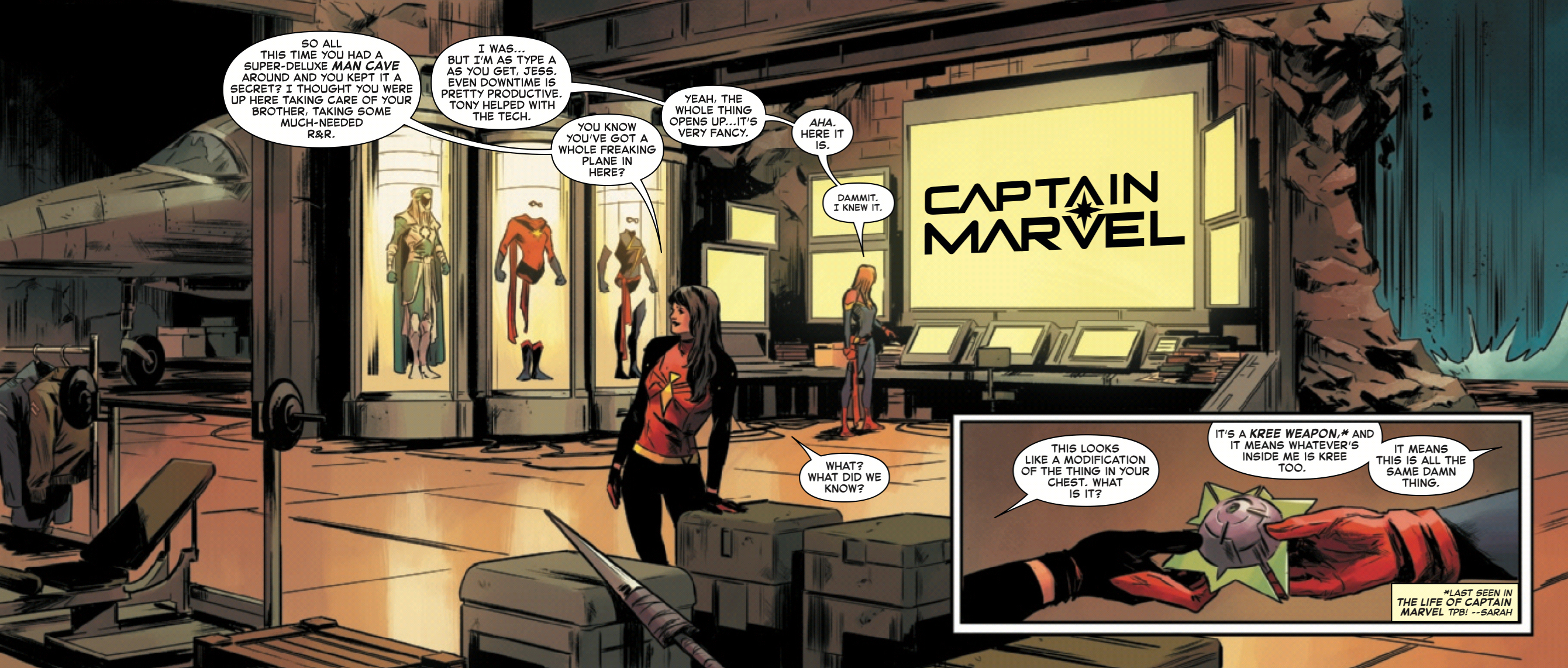 Captain Marvel is losing her powers in the luxury of her own Batcave
