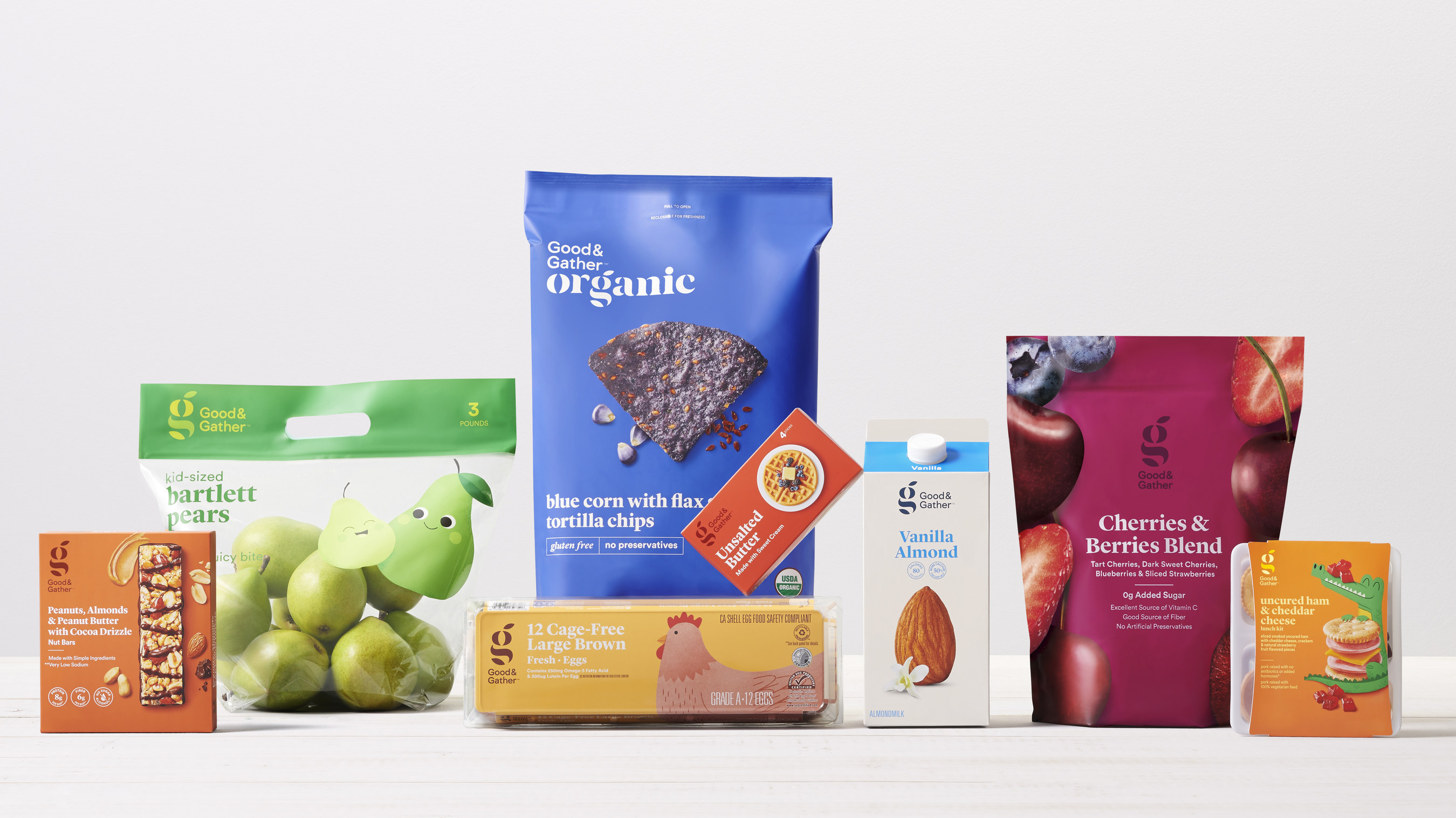 The first 650 Good & Gather productswill be available at stores nationwide and at Target.com starting Sept. 15. They include: bagged salads, cheese, granola, sparkling water, deli fresh entrees and sides, fruit squeezers, frozen fruit, fresh veg