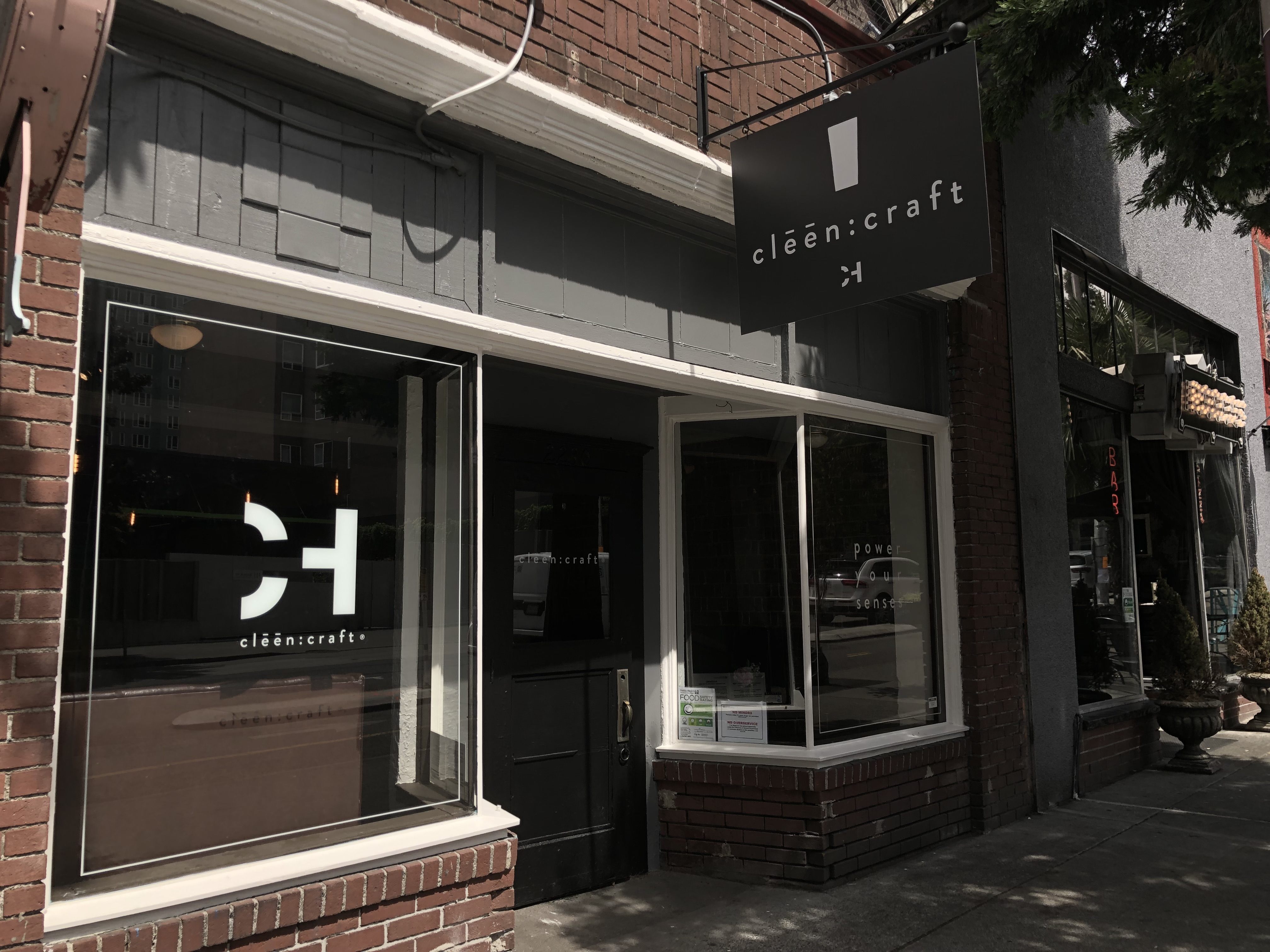 The exterior of the Cleen Craft tasting room in Belltown