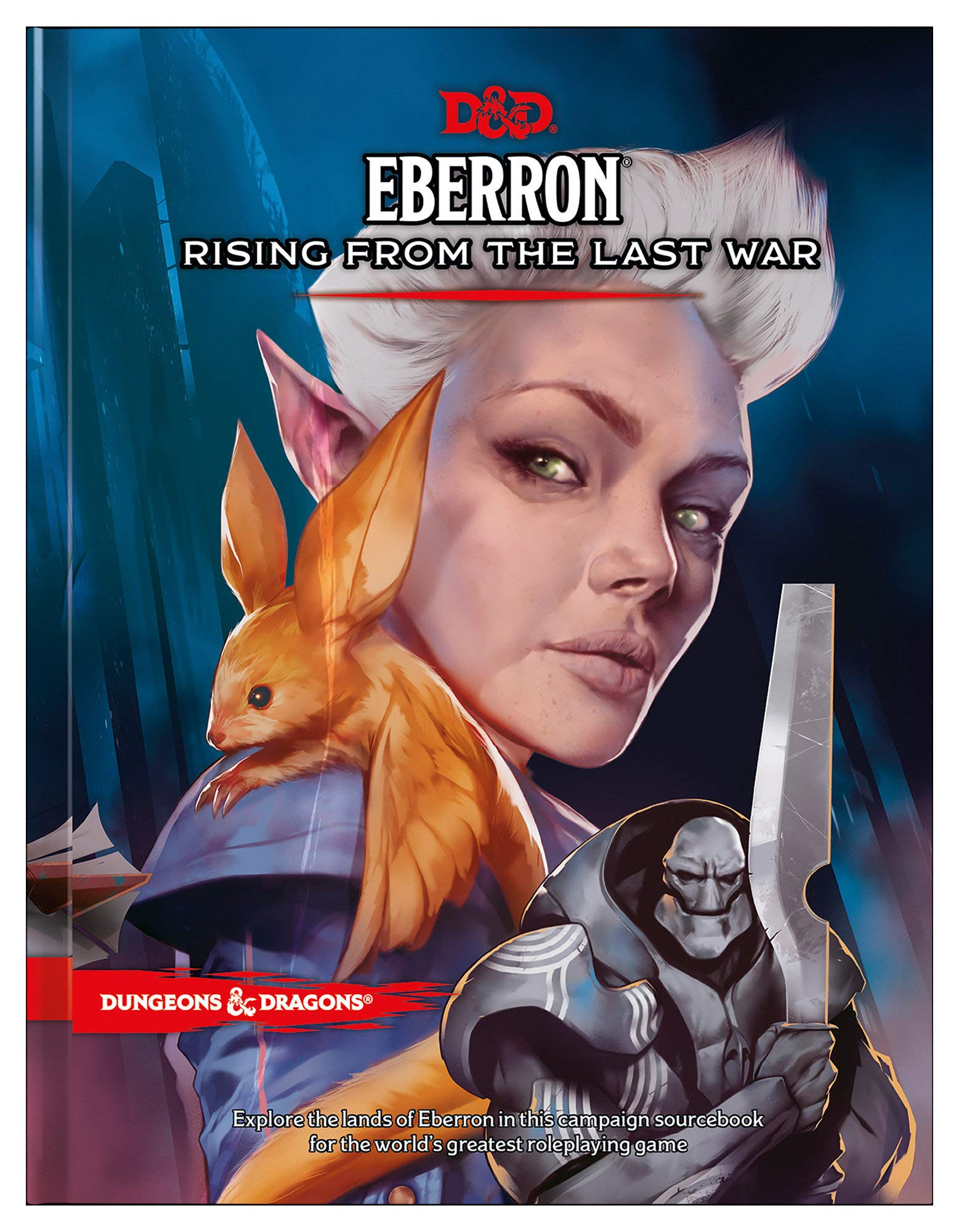 Cover art for Eberron: Rising from the Last War featuring a woman with a bat on her shoulder.
