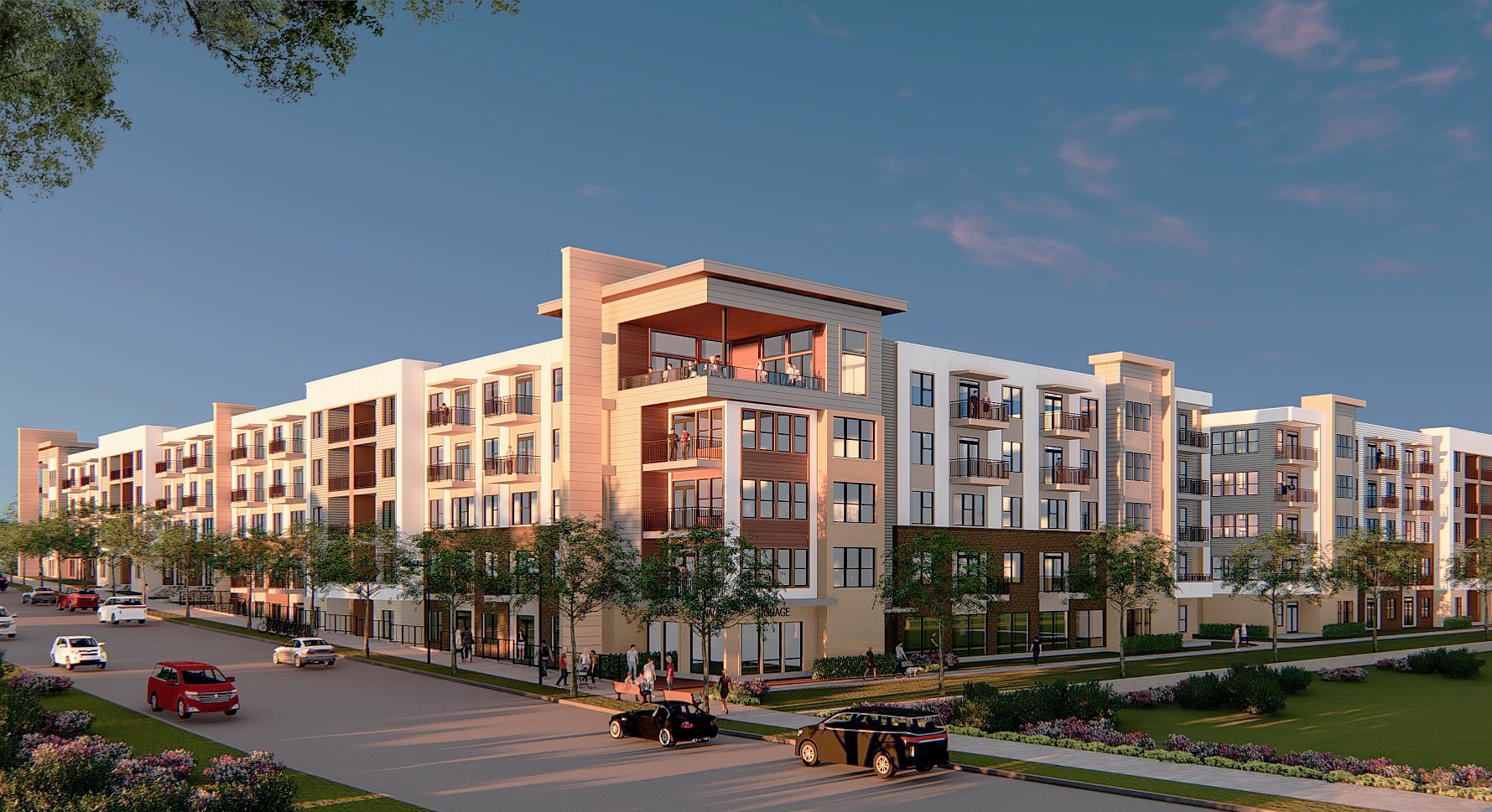 A rendering showing a four-story apartment community with a blue sky above.
