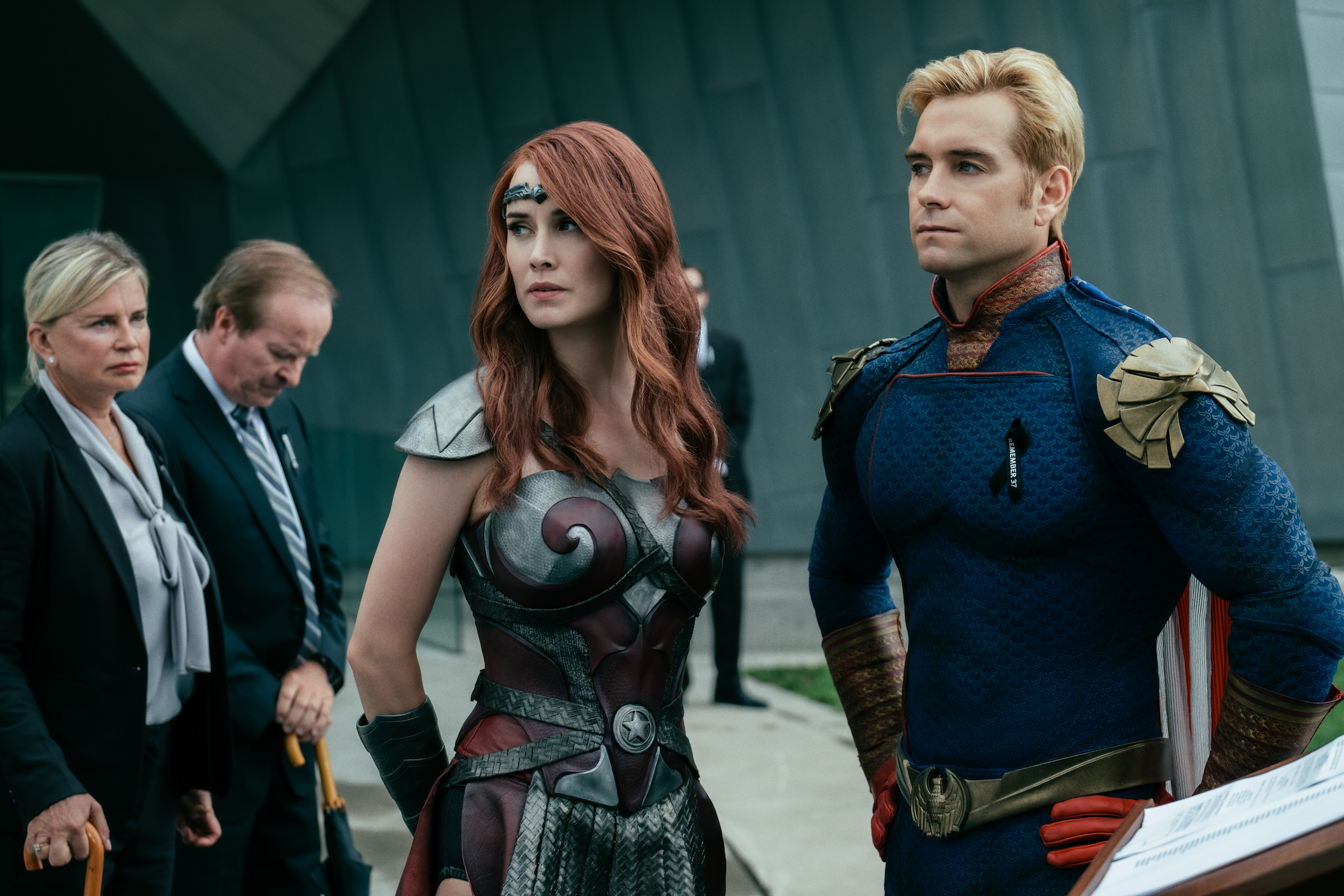 Homelander and Queen Maeve standing at high alert on Amazon's The Boys