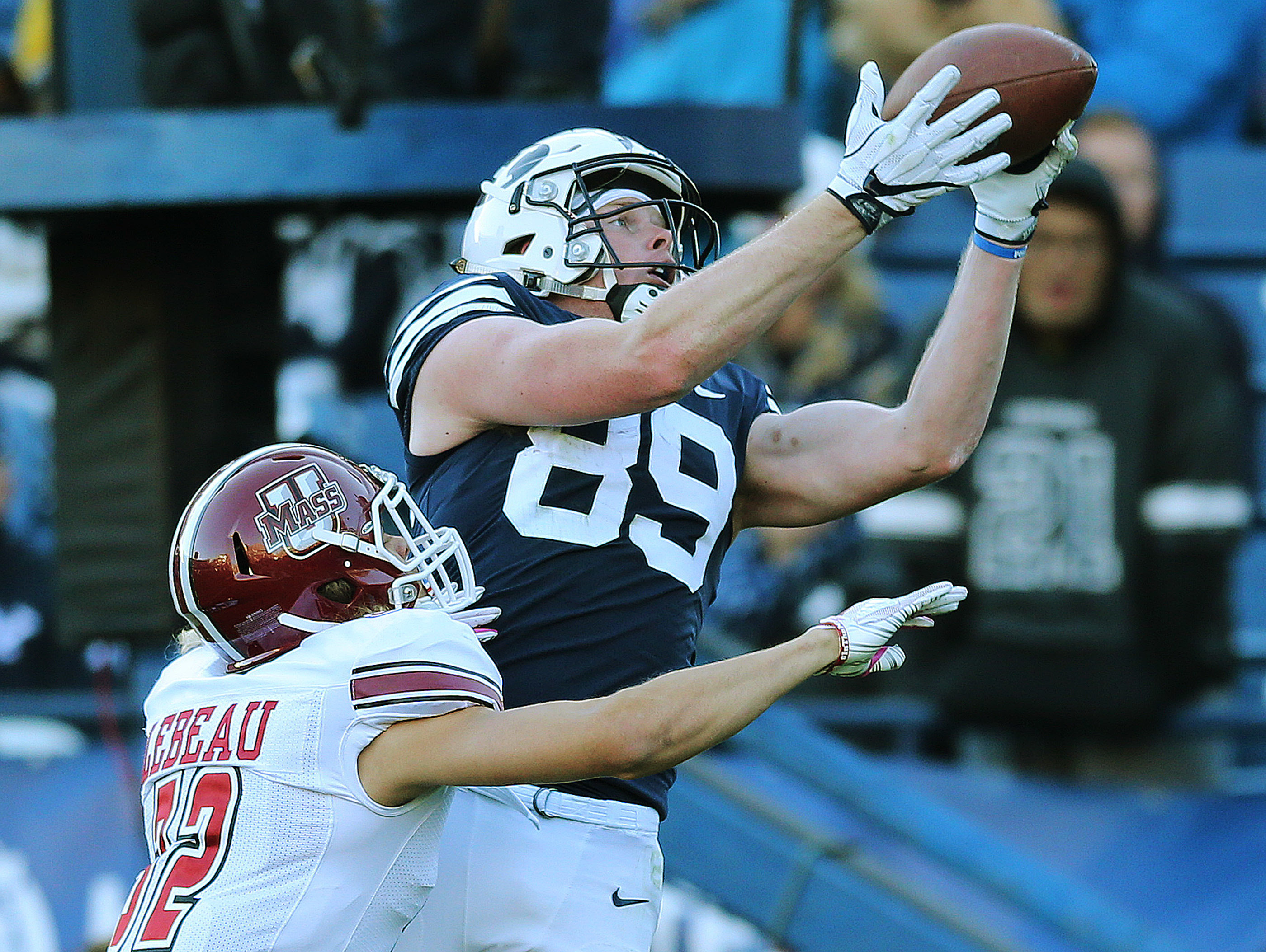 BYU tight end Matt Bushman catches a touchdown against Massachusetts in Provo on Saturday, Nov. 18, 2017. Massachusetts Minutemen won 16-10.