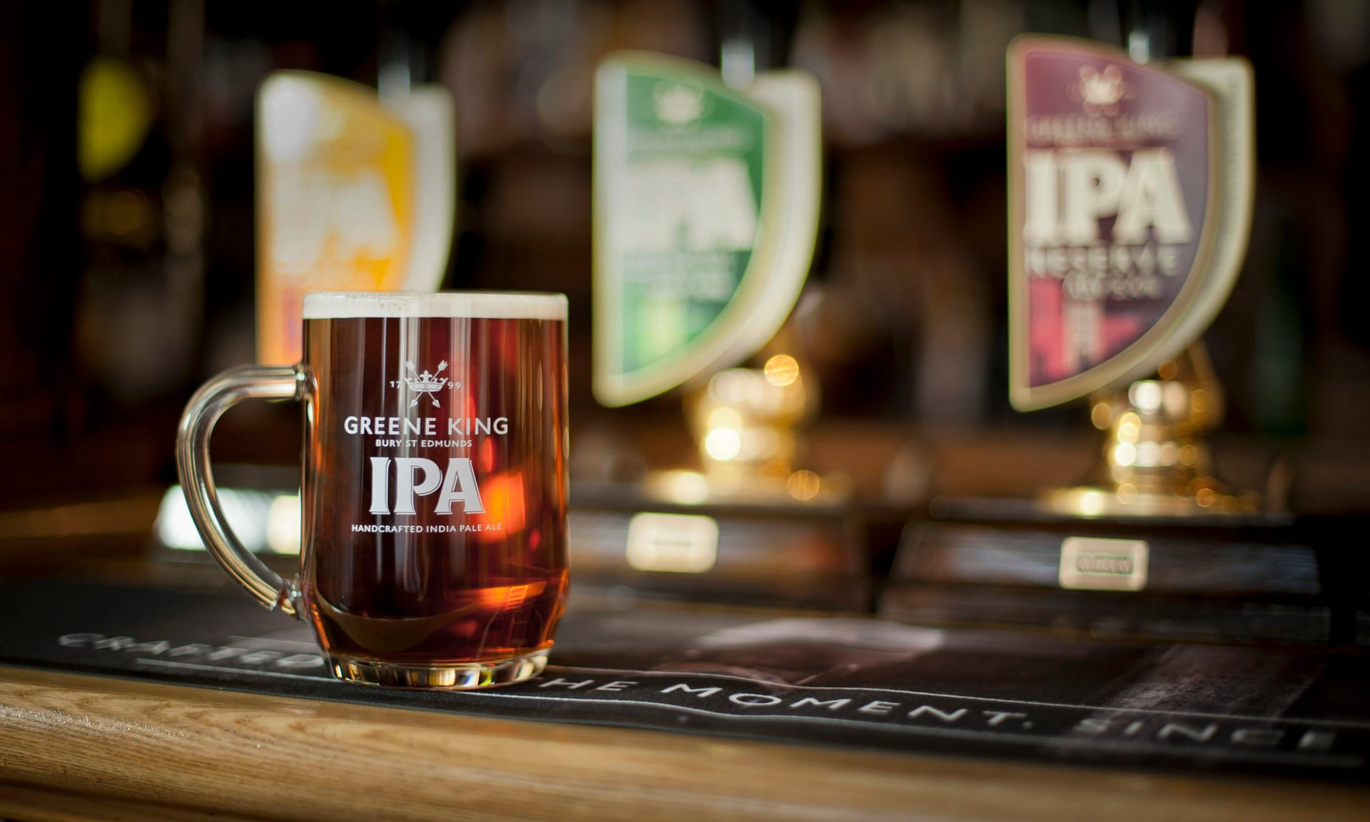 Greene King IPA in a glass at a Greene King pub, which will sell for £2.7 billion