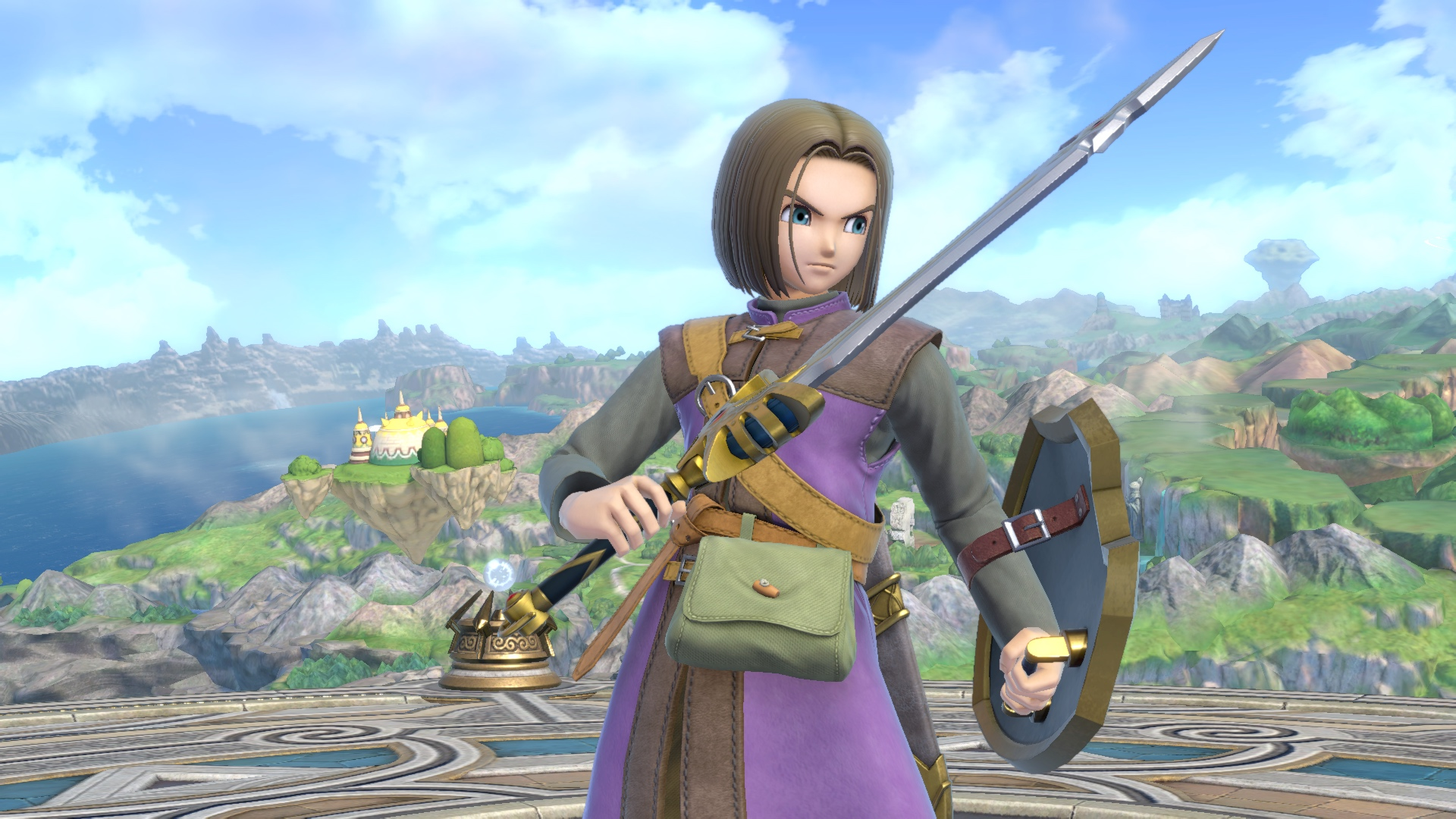The Hero of Dragon Quest 11 stands with his sword and shield raised in a screenshot from Super Smash Bros. Ultimate.
