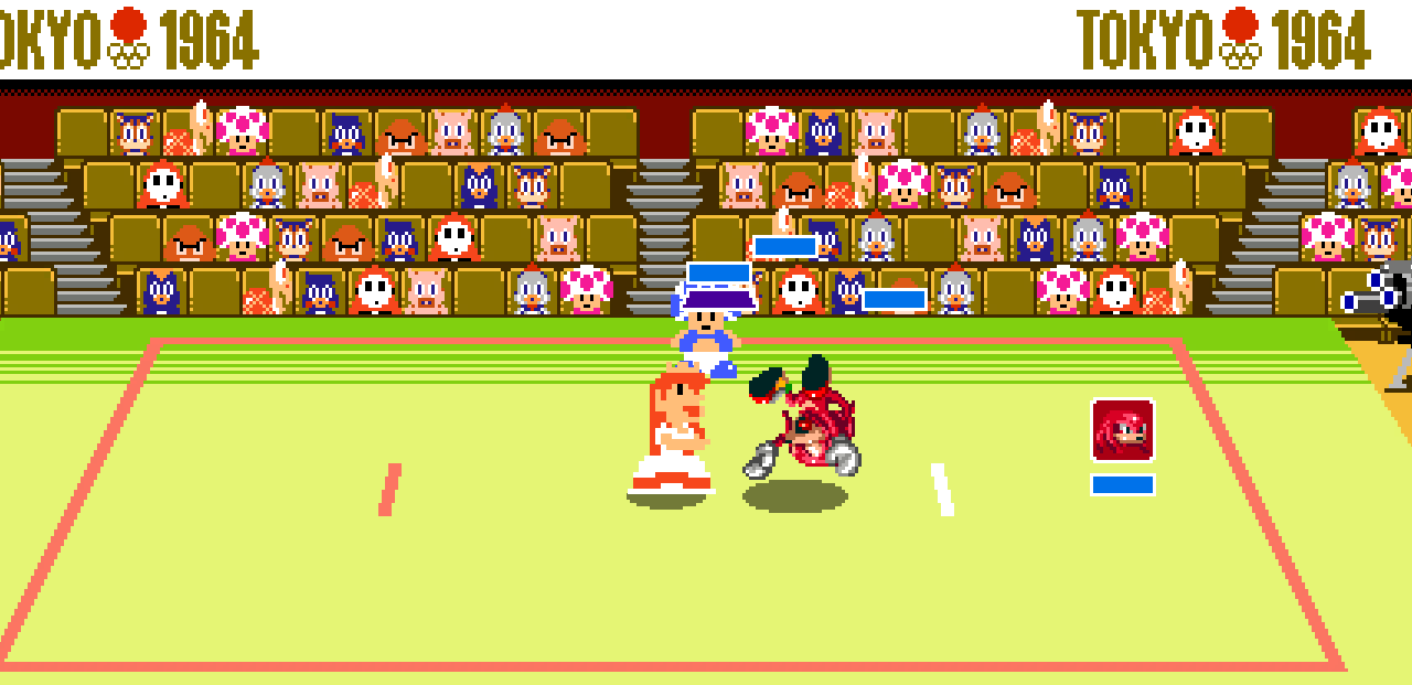 Peach tosses Knuckles in a judo match in Mario & Sonic at the Olympic Games Tokyo 2020