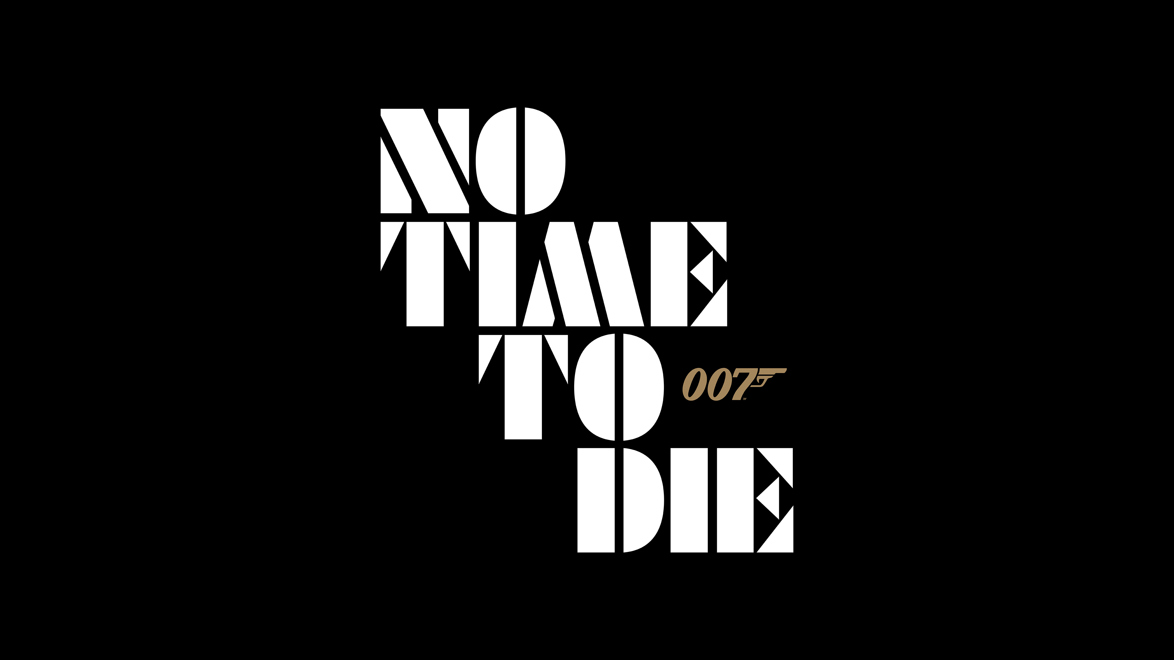 """logo for the 25th James Bond film, No Time to Die, with each word on one line (with the 007 pistol logo to the right of the word """"to"""")"""