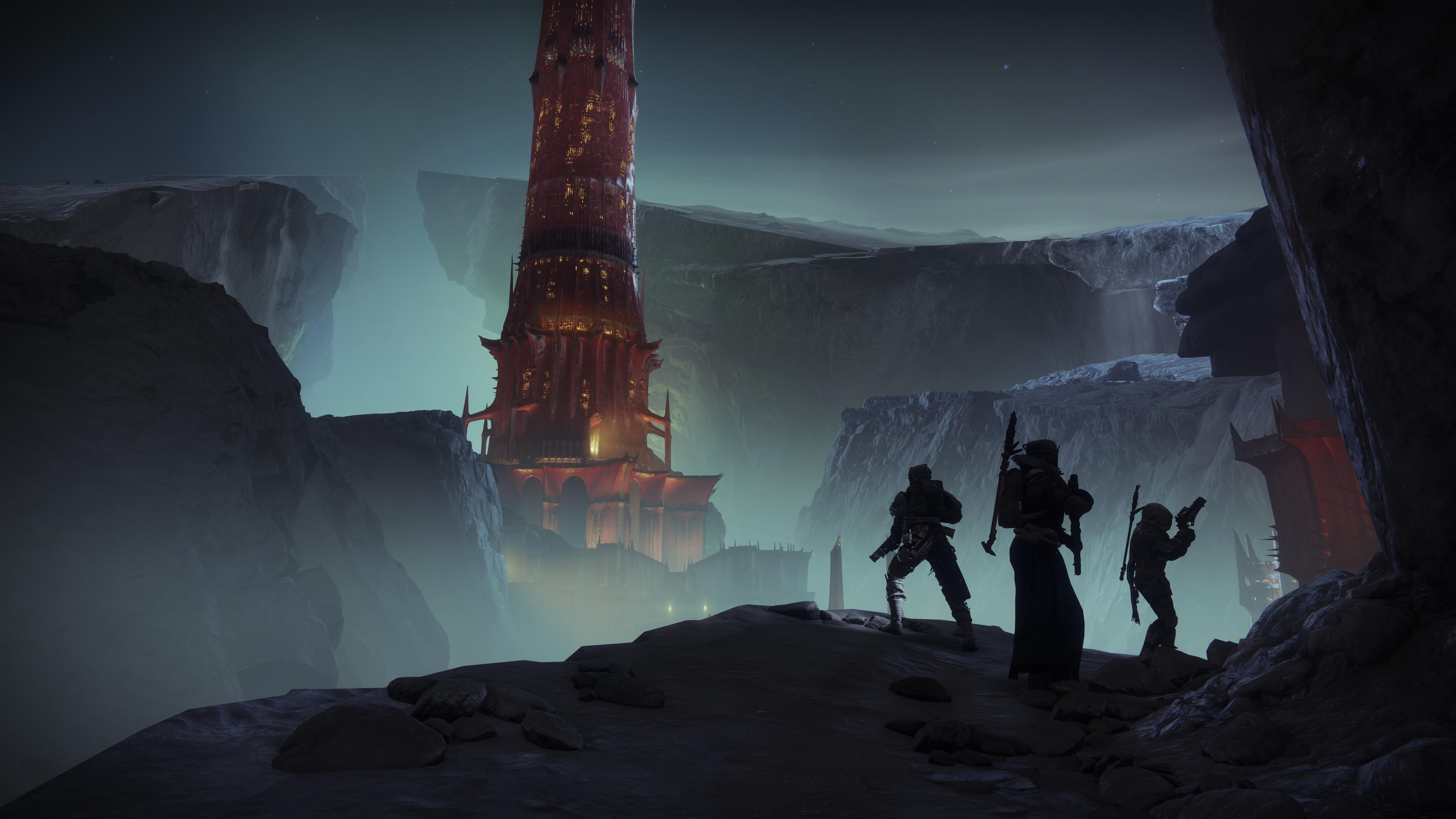 Guardians look at the spooky, scarlet keep in Destiny 2: Shadowkeep
