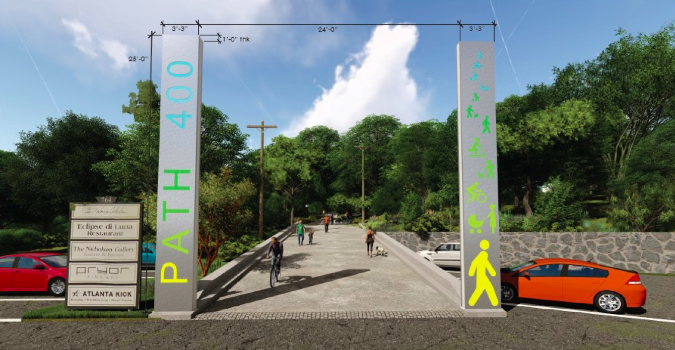 A metal modern gateway for a trail with users on it, in renderings.