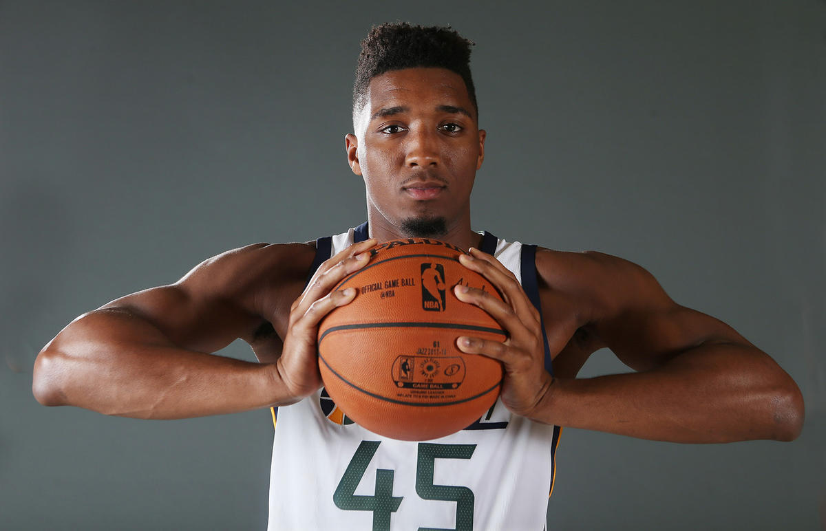 Utah Jazz player Donovan Mitchell during media day in Salt Lake City on Sept 25, 2017.