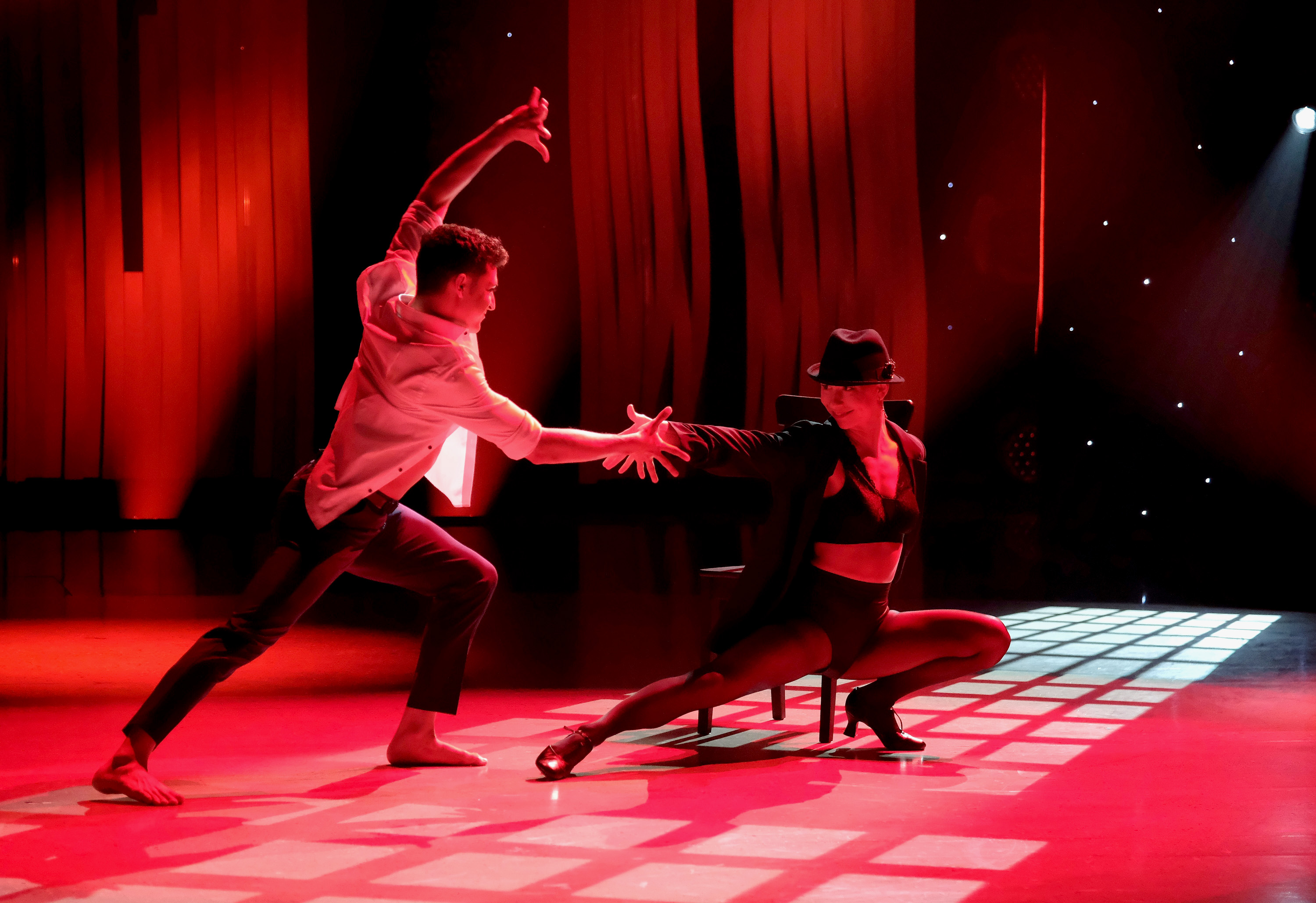 """""""So You Think You Can Dance"""" Top 10 to 8: Top 10 contestants Madison Jordan (R) and Ezra Sosa (L) perform a jazz routine to """"You Can Leave Your Hat On,"""" choreographed by Ray Leeper on """"So You Think You Can Dance,"""" which aired Monday, Aug. 19."""