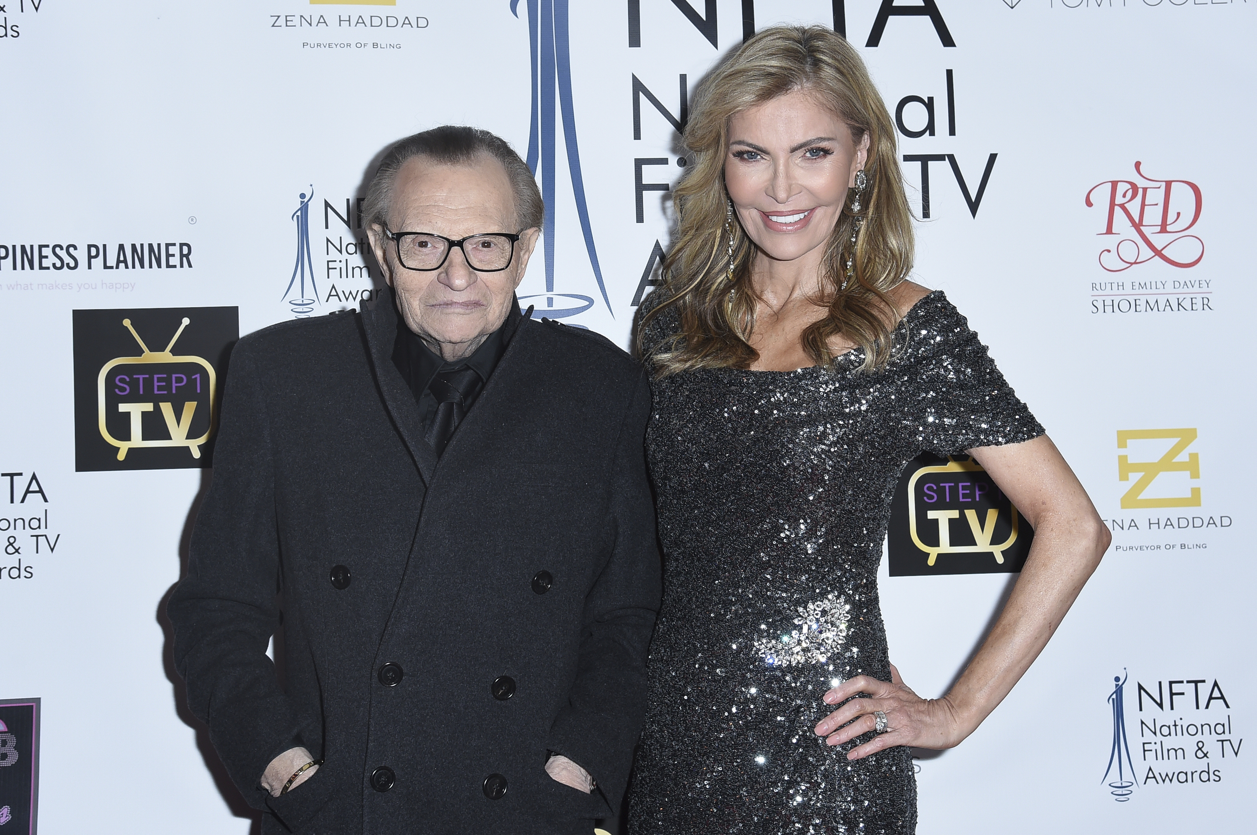 Larry King and Shawn King attend the 2018 National Film & Television Awards at the Globe Theatre in Los Angeles.