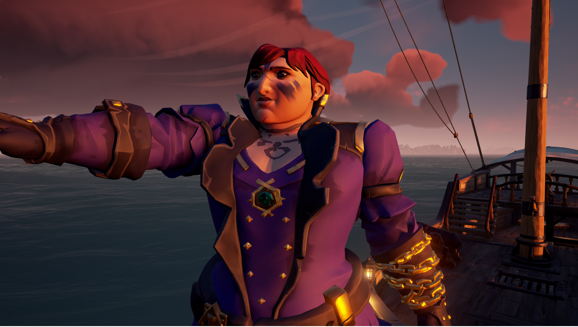 Sea of Thieves - a broad shouldered pirate in a purple dress and gold chains, with purple face paint, points to the horizon