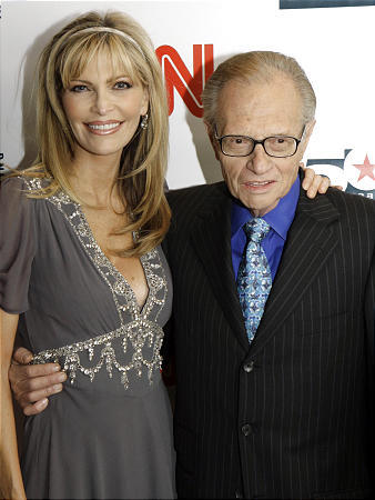 Larry King and his wife Shawn arrive to a party held by CNN celebrating King's 50 years of broadcasting New York in April 2007.