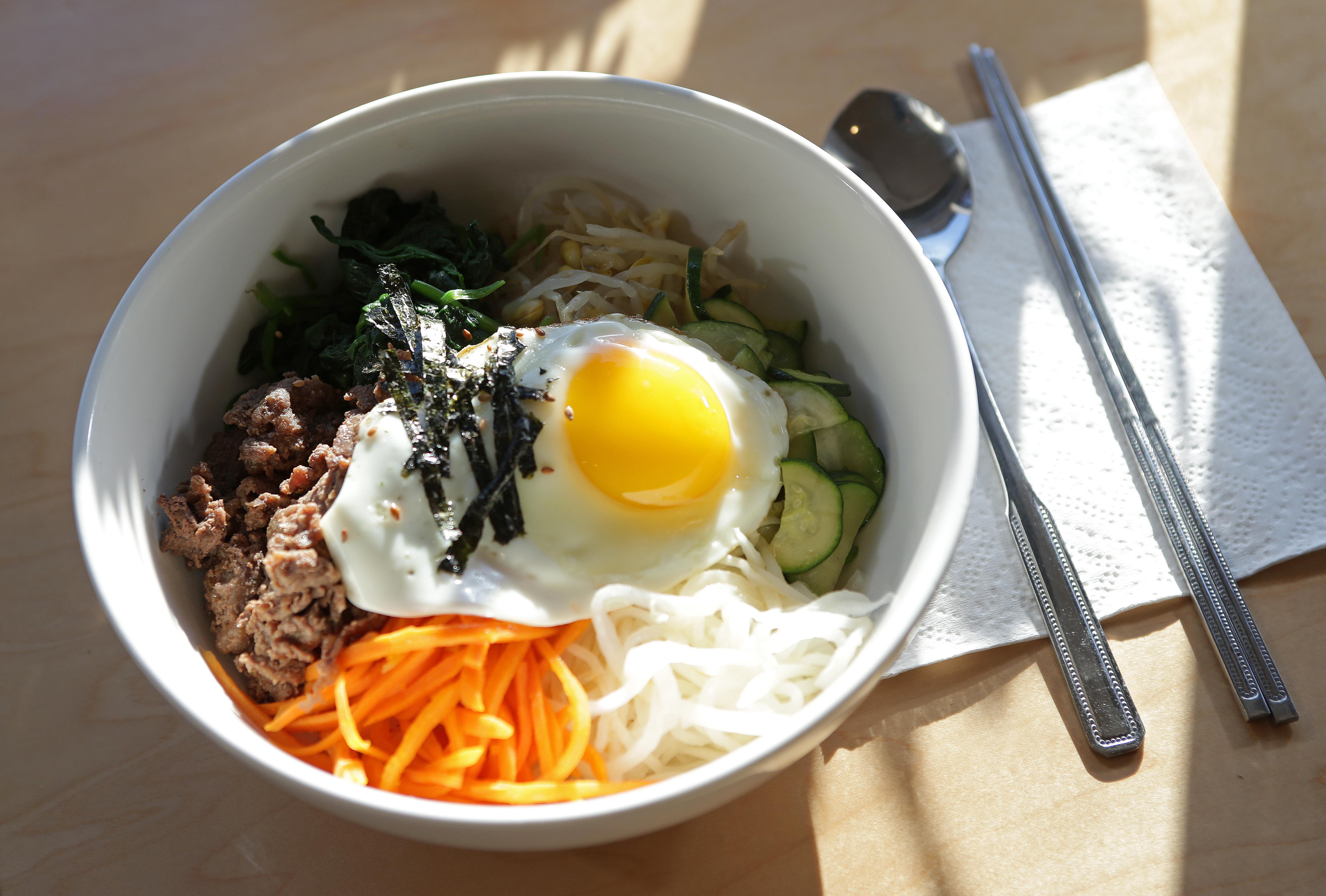 A top-down view of a bowl of Korean bibimbap