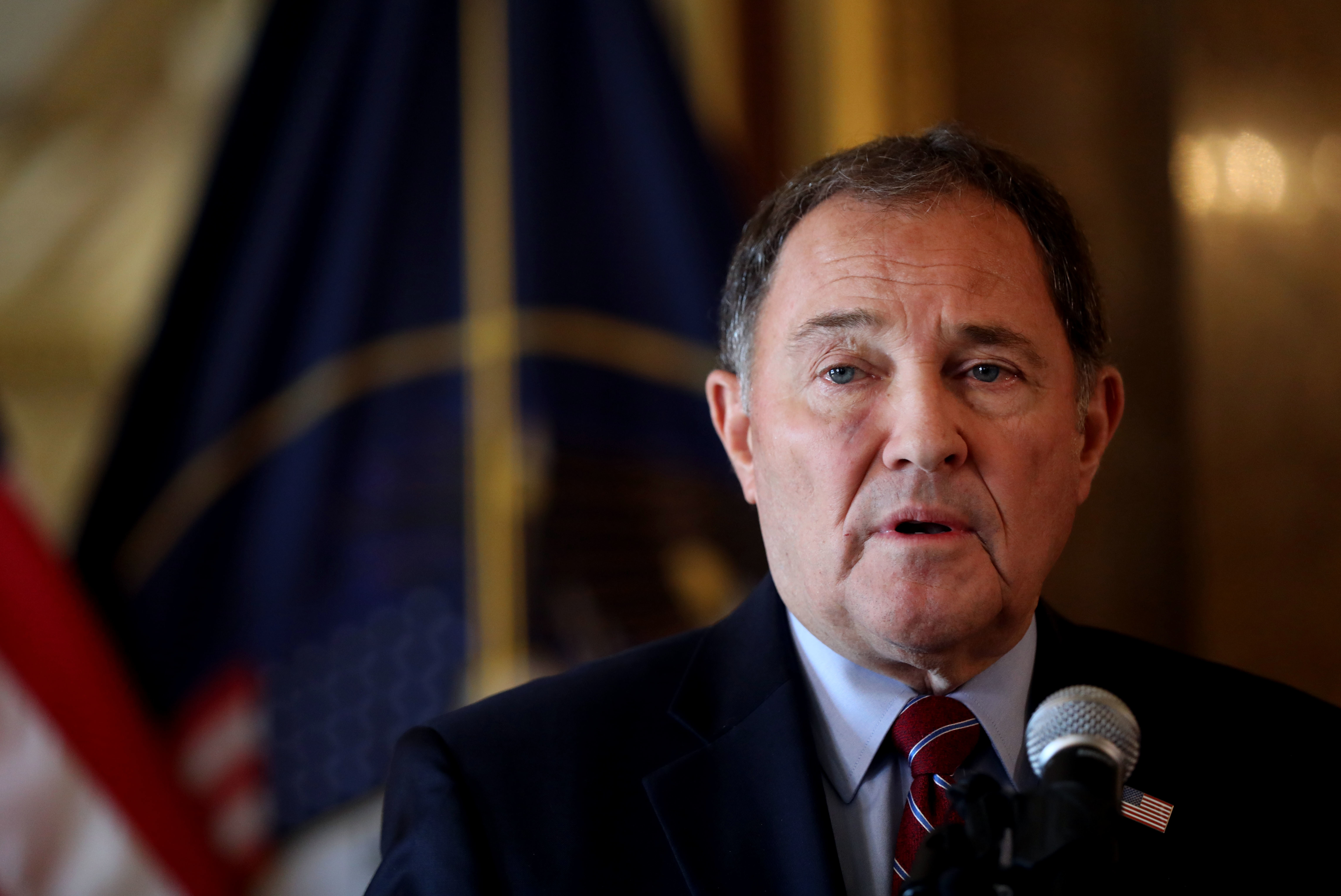 """Gov. Gary Herbert calls for """"civility"""" during a press conference at the Capitol in Salt Lake City on Wednesday, July 10, 2019, a day after anti-inland port protesters stormed the Chamber of Commerce Building and clashed with police."""