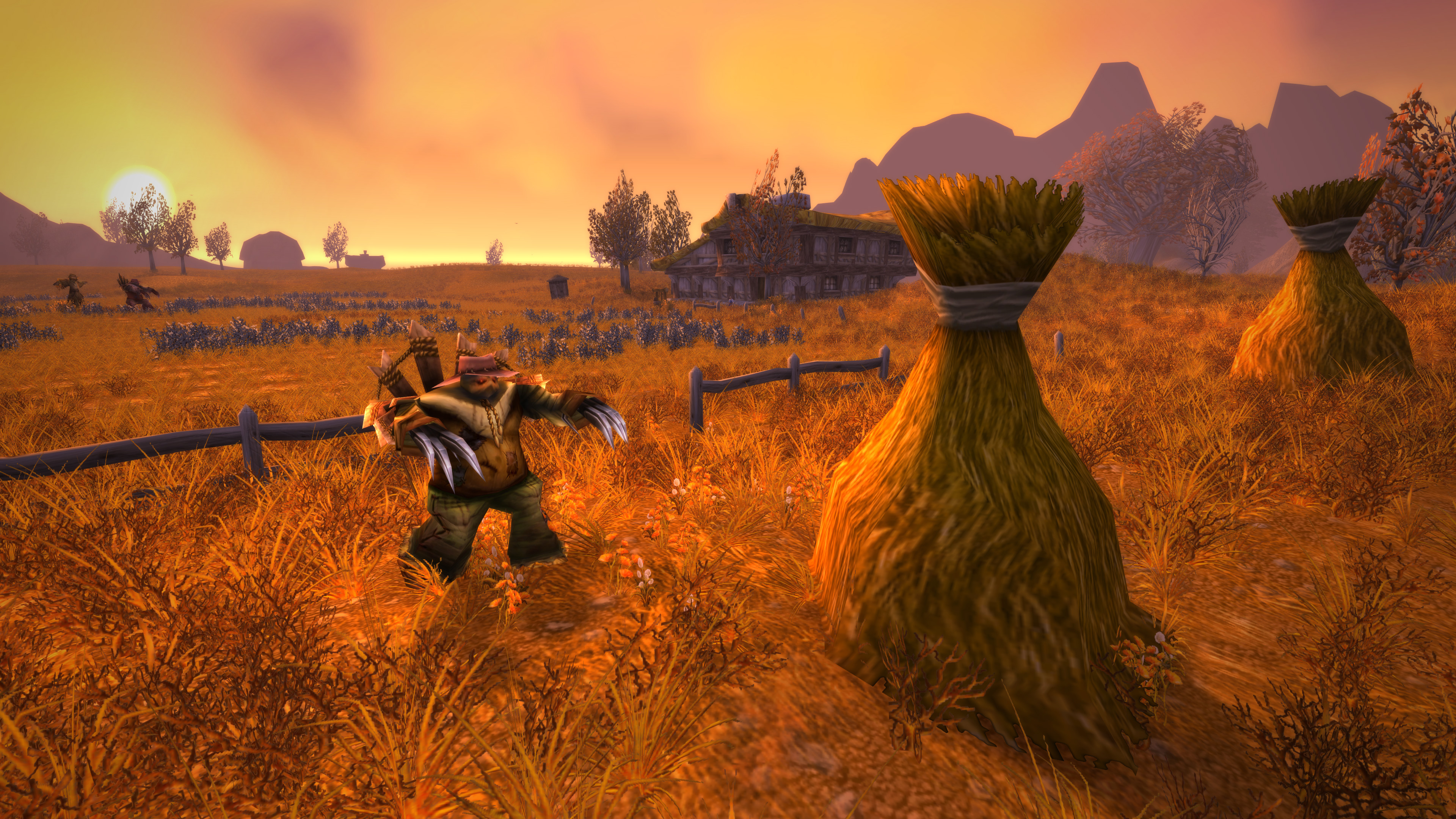 Image of a scarecrow mech running around a field in World of Warcraft Classic