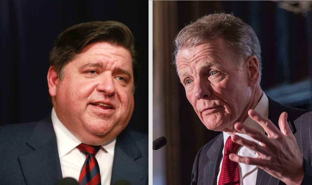 Gov. J.B. Pritzker, left; state House Speaker Mike Madigan, right.