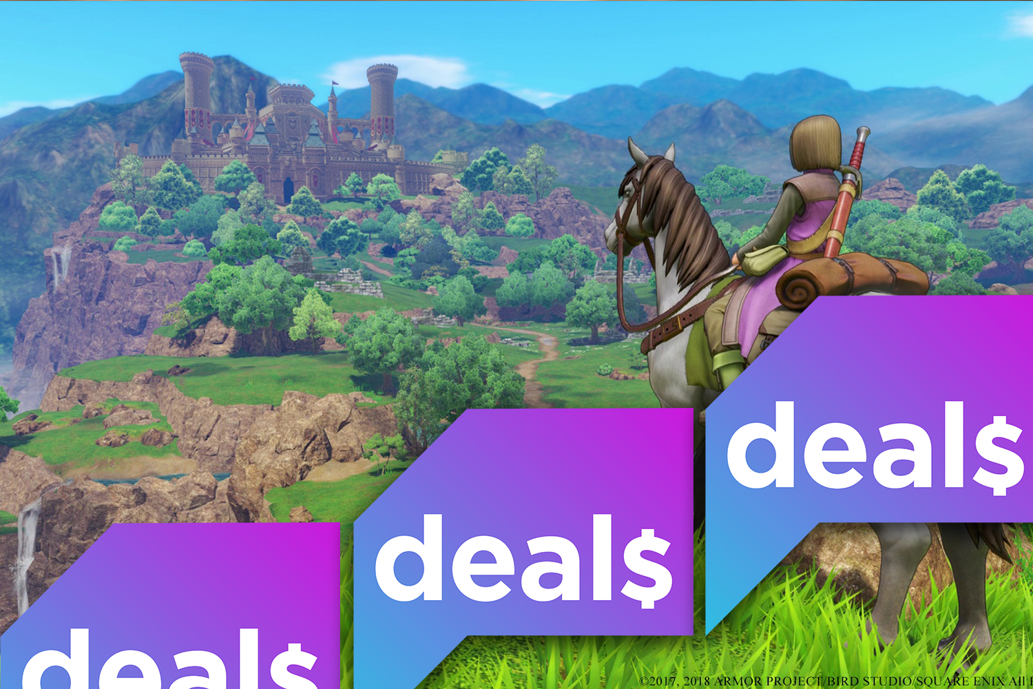 The Polygon Deals logo over a screenshot of a character riding a horse in Dragon Quest 11