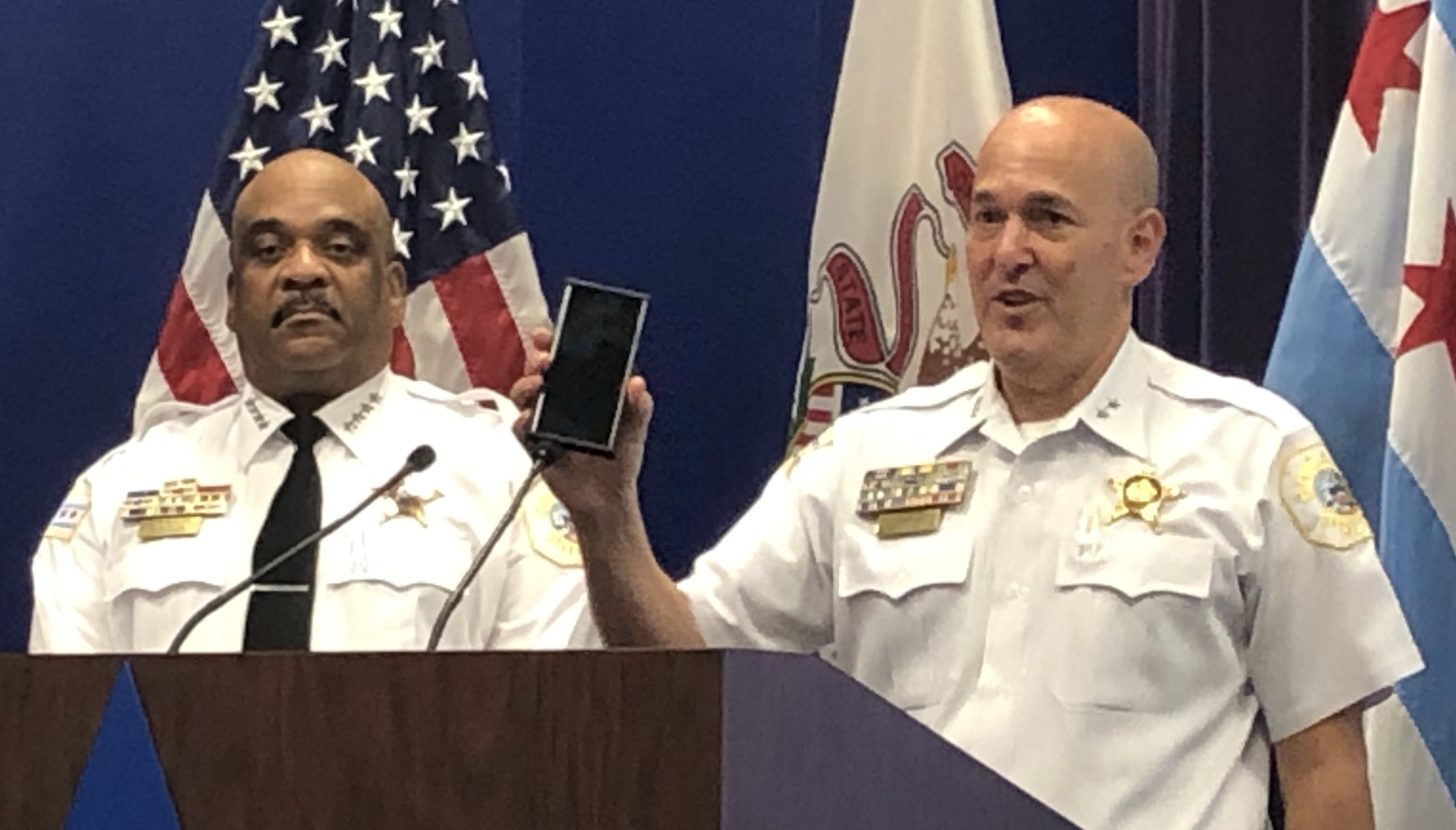 Jonathan Lewin, chief of the Chicago Police Department's Bureau of Technological Services, and Police Superintendent Eddie Johnson at a news conference Wednesday, Aug. 21, 2019.