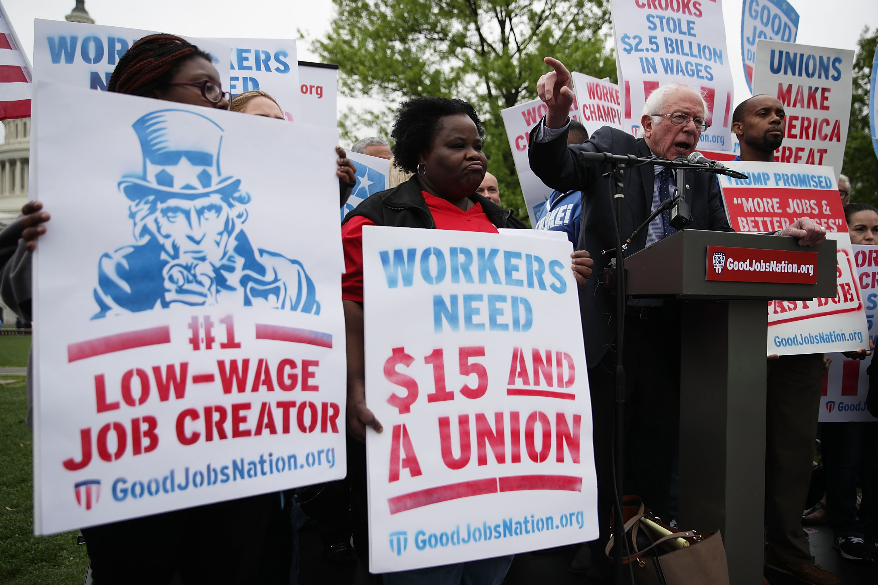 Senators Sanders, Schumer, And Murray Rally With Fair Living Wage Activists On Raising Minimum Wage