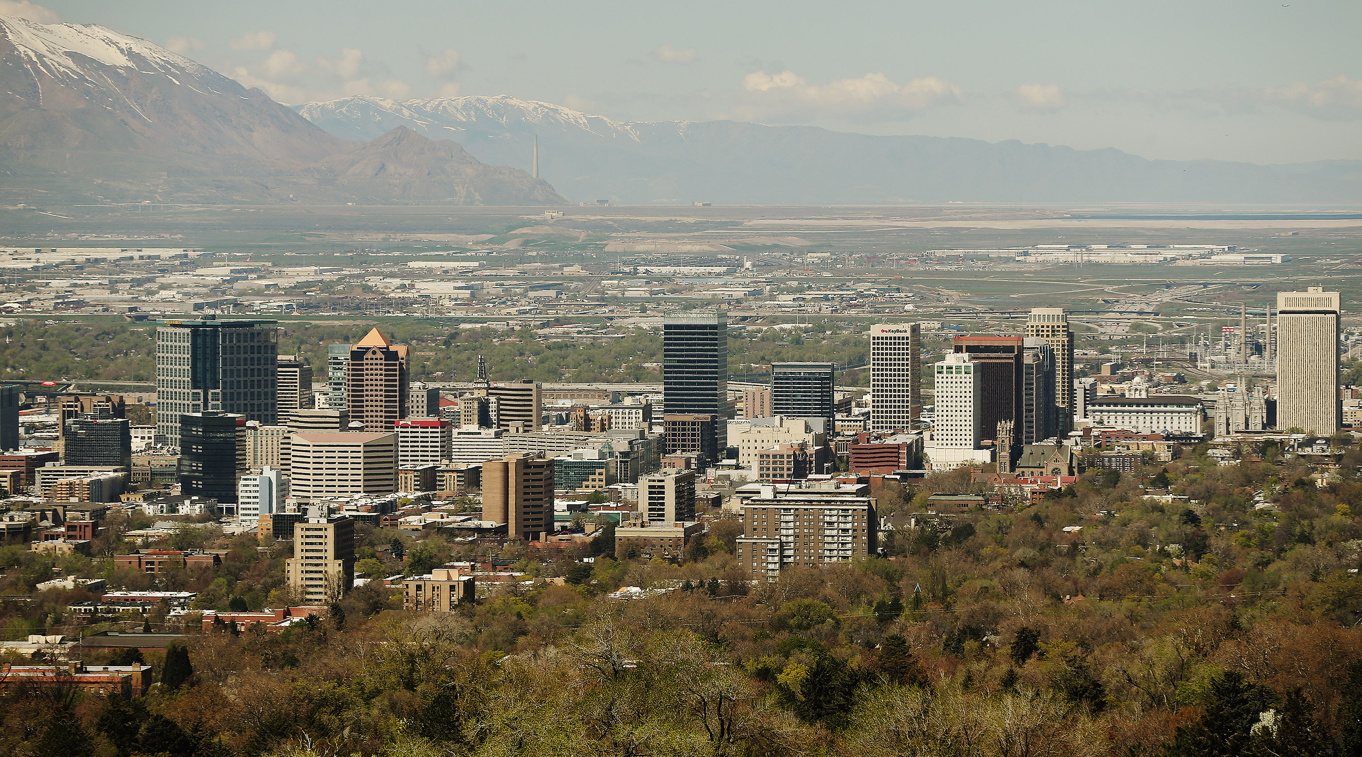 The Salt Lake City skyline is pictured on Tuesday, April 23, 2019.