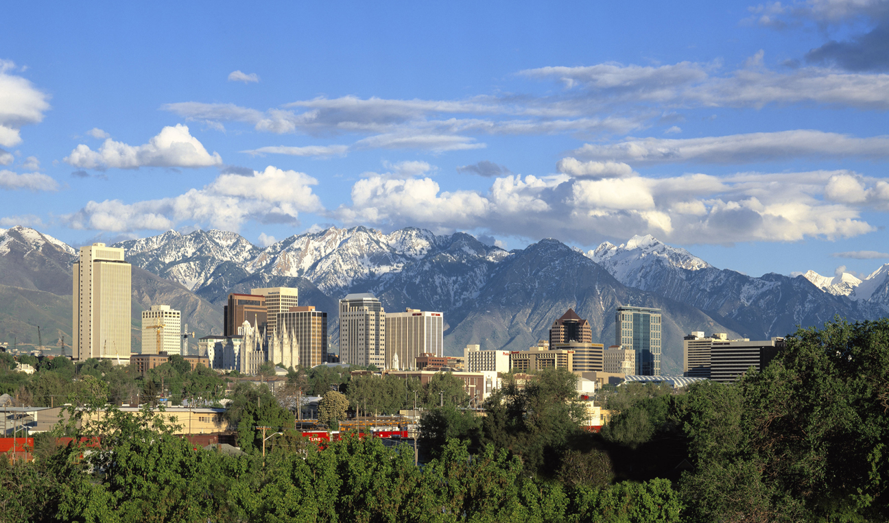 Downtown Salt Lake City, Utah with the Wasatch Mountains in the background