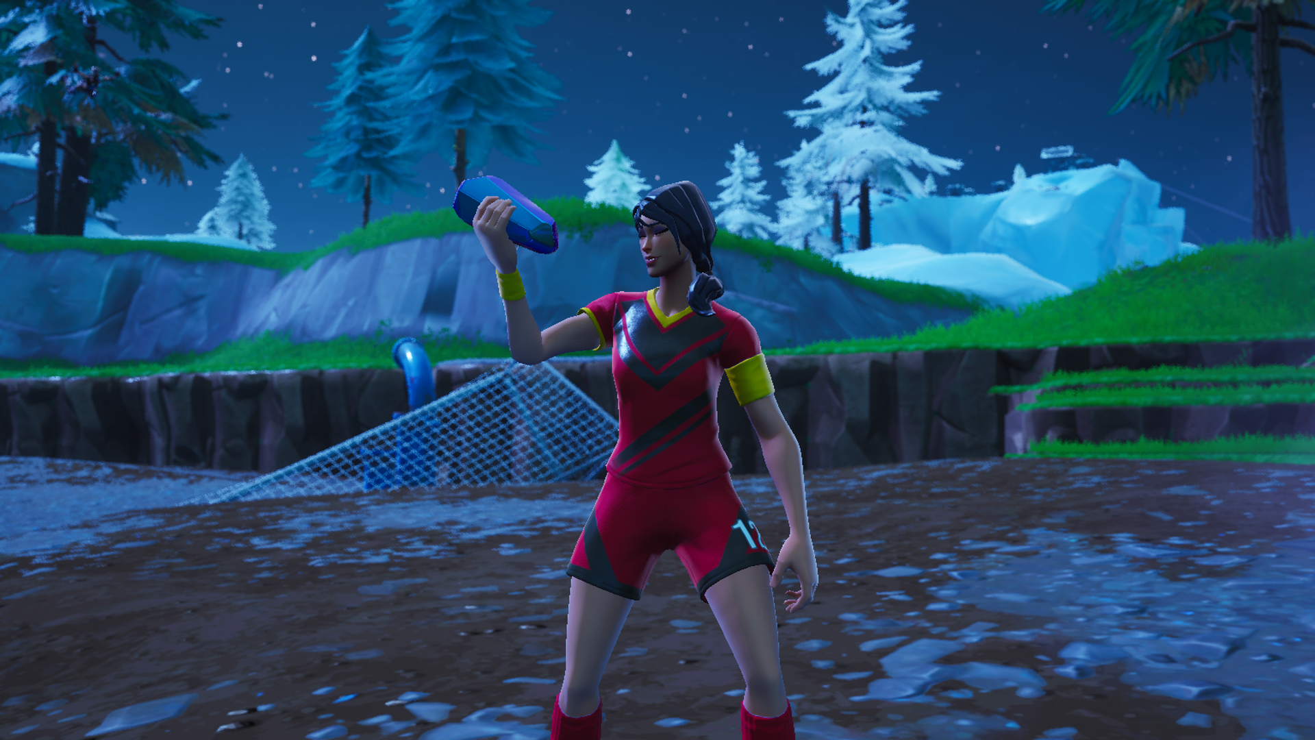 A Fortnite Soccer Skin stands in a crater about to activate a Hop Rock